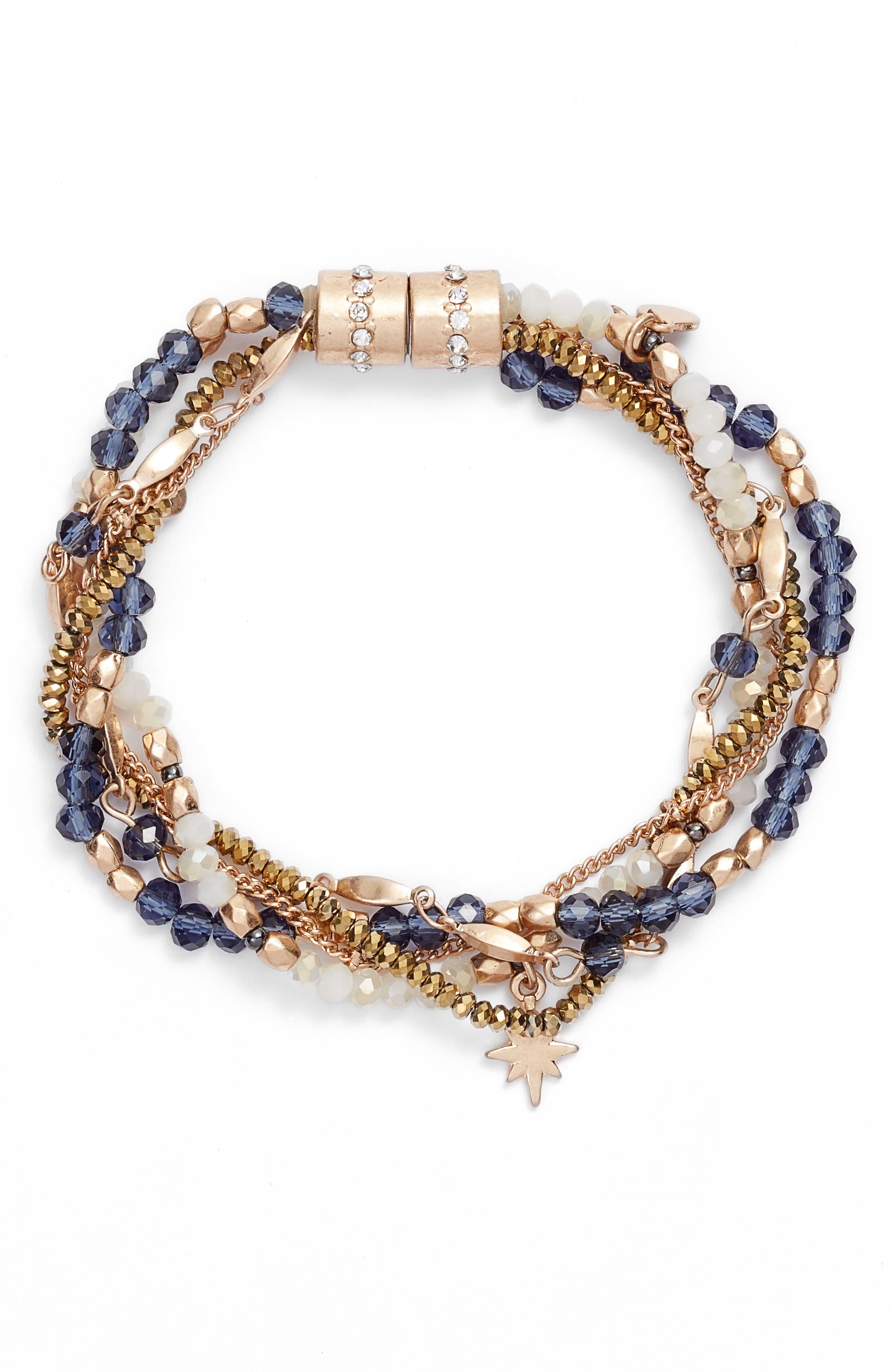 Layered Charm Bracelet,                         Main,                         color, BLUE-/ GOLD