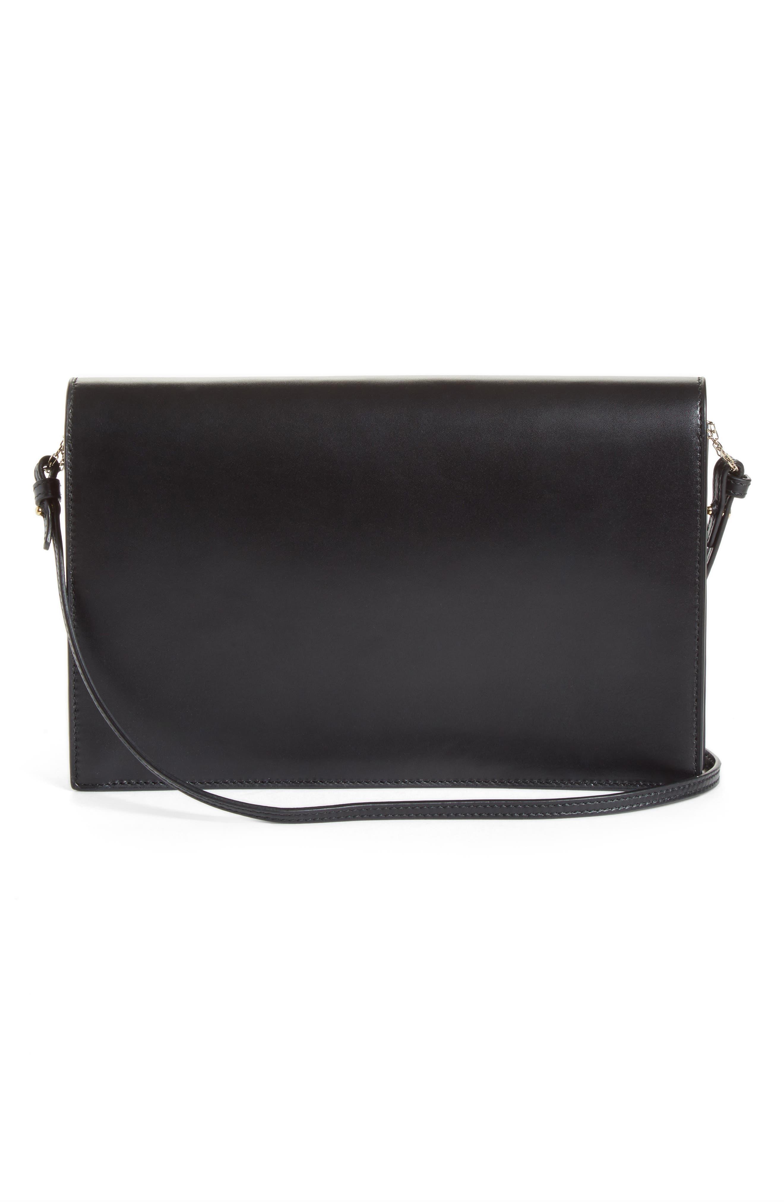 Leather Envelope Clutch,                             Alternate thumbnail 3, color,                             BLACK