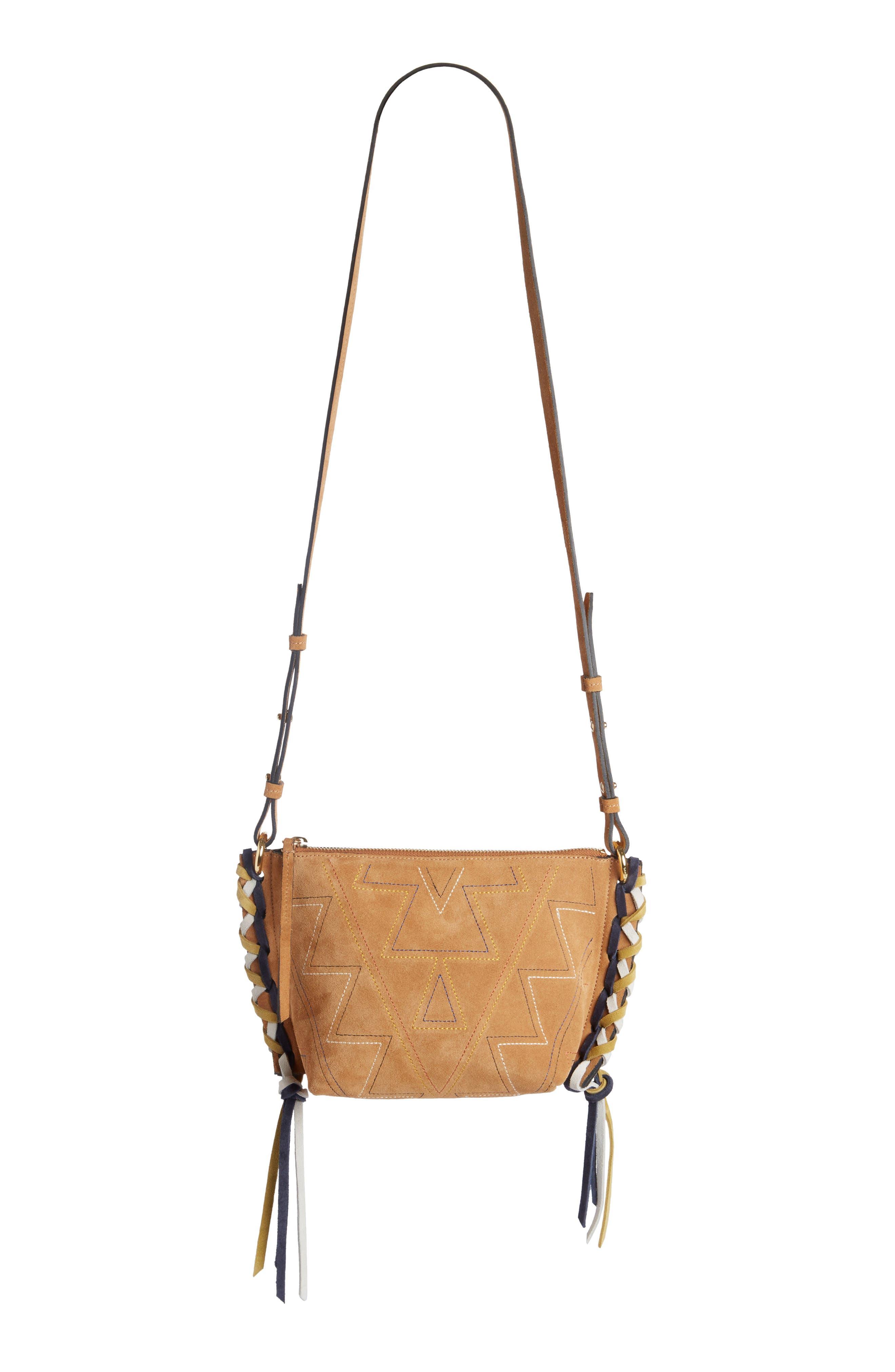 Fangoh Stitched Suede Crossbody Bag,                             Main thumbnail 1, color,                             210