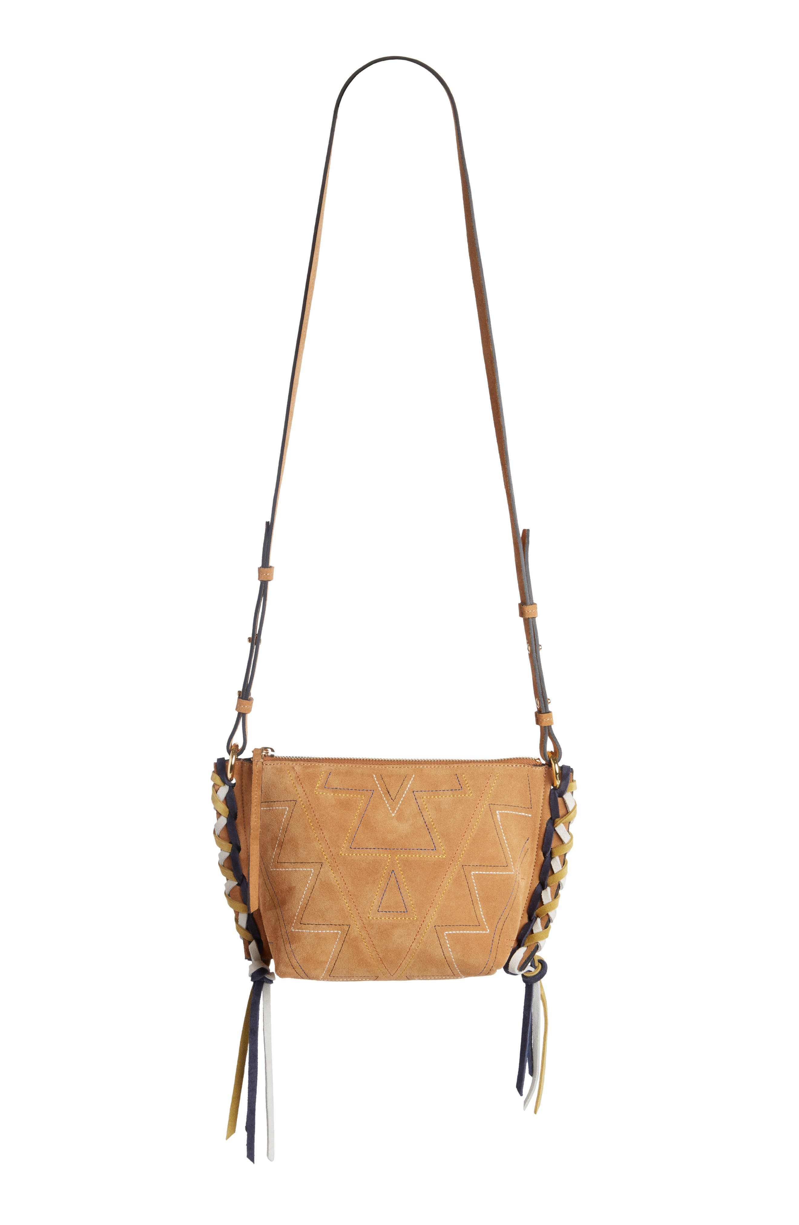 Fangoh Stitched Suede Crossbody Bag,                         Main,                         color, 210