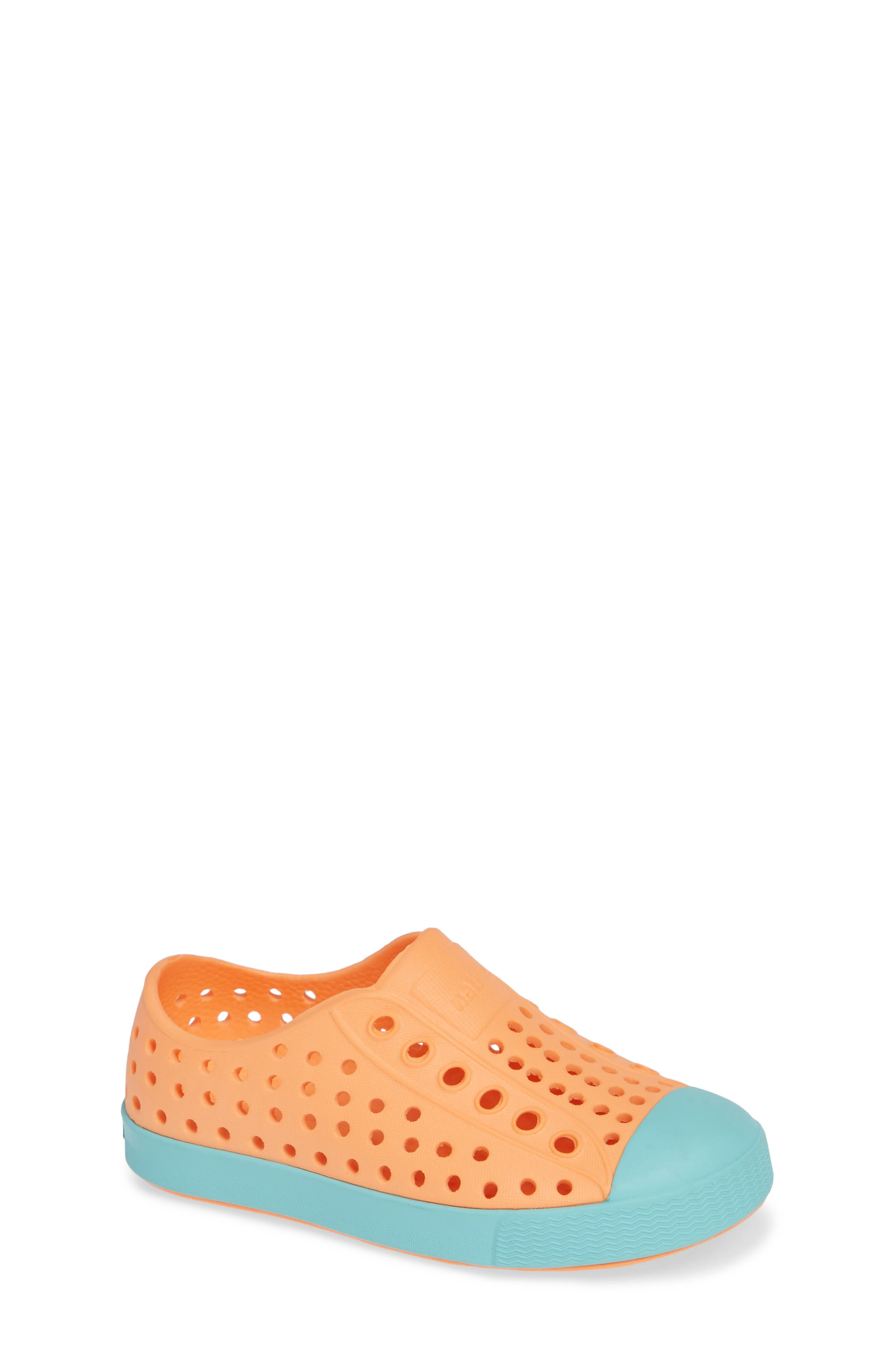 'Jefferson' Water Friendly Slip-On Sneaker,                             Main thumbnail 1, color,                             LASER ORANGE/ SHERBET BLUE