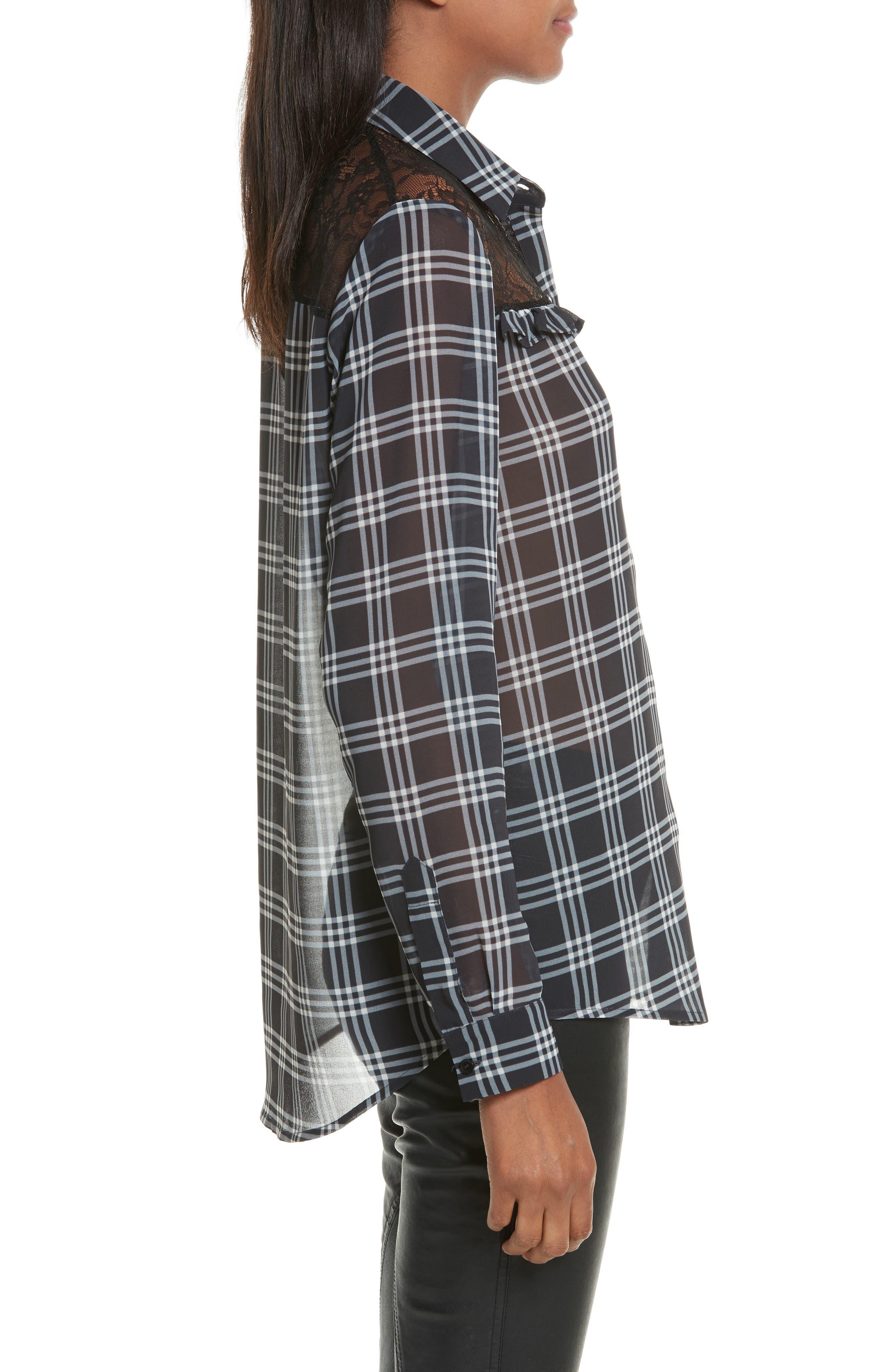 Lace Yoke Plaid Shirt,                             Alternate thumbnail 3, color,                             001
