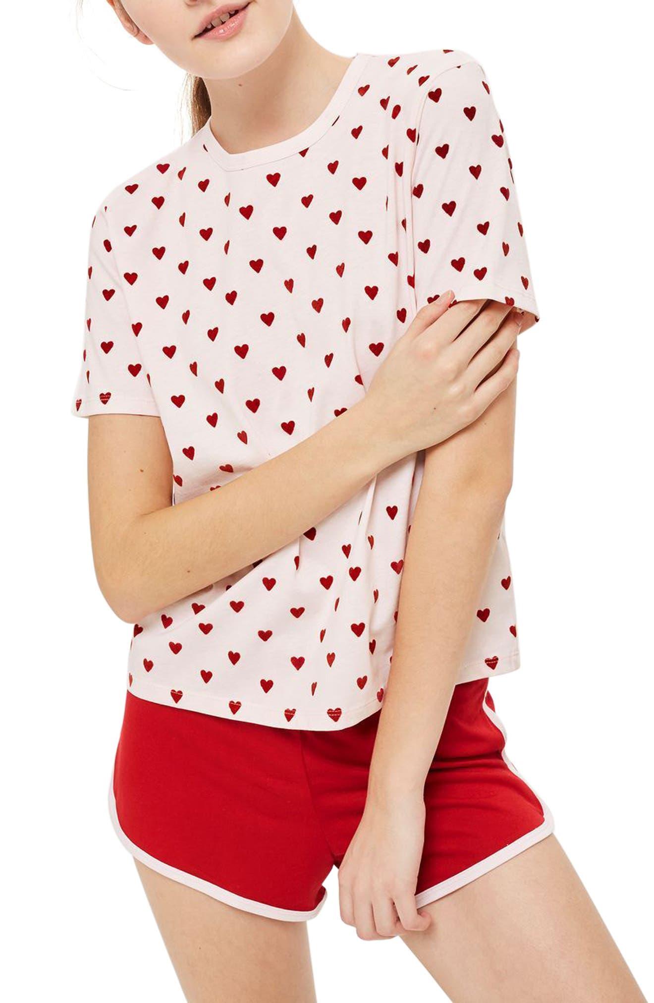 Flocked Heart Pajamas,                         Main,                         color,