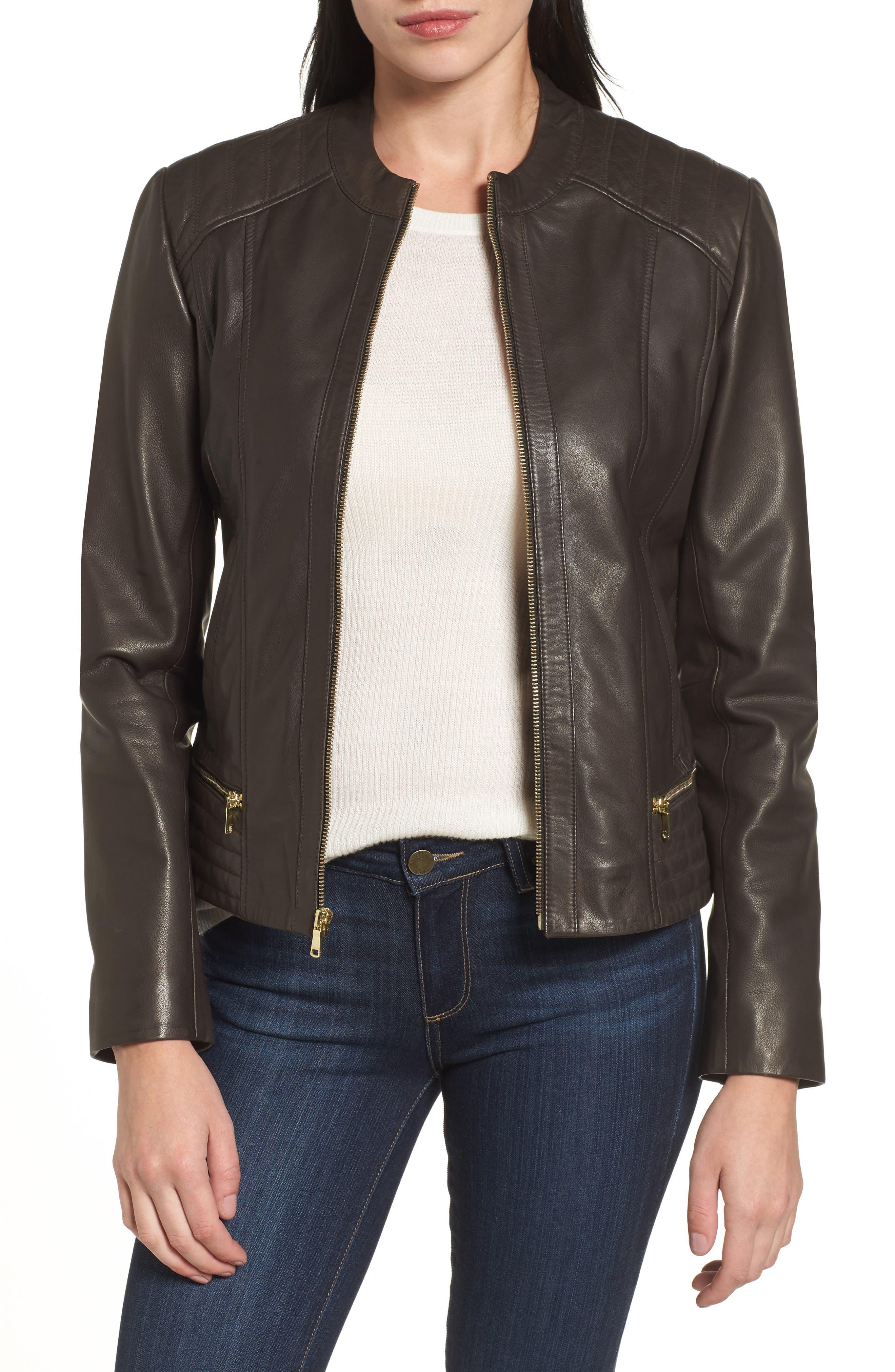 Leather Moto Jacket,                             Main thumbnail 1, color,                             055