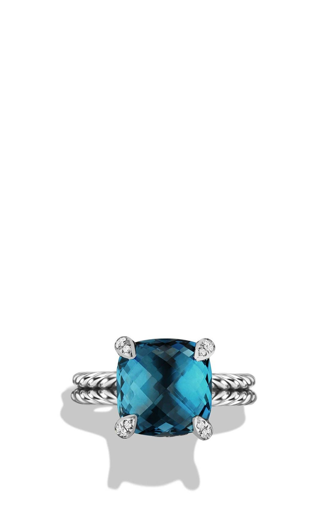 DAVID YURMAN,                             'Châtelaine' Ring with Semiprecious Stone and Diamonds,                             Alternate thumbnail 4, color,                             SILVER/ HAMPTON BLUE TOPAZ