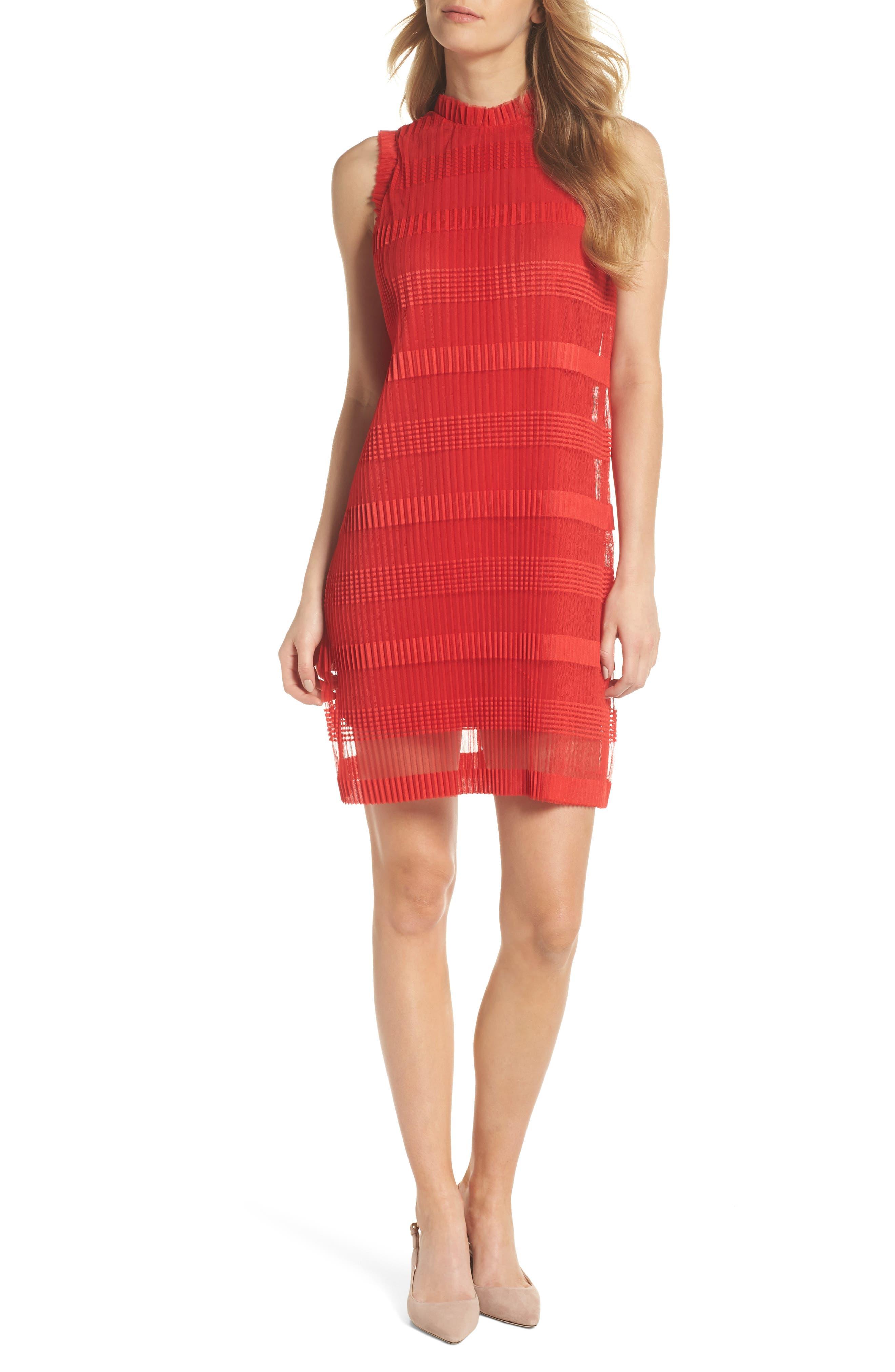 Julia Jordan Stripe Pleated Chiffon Shift Dress, Red