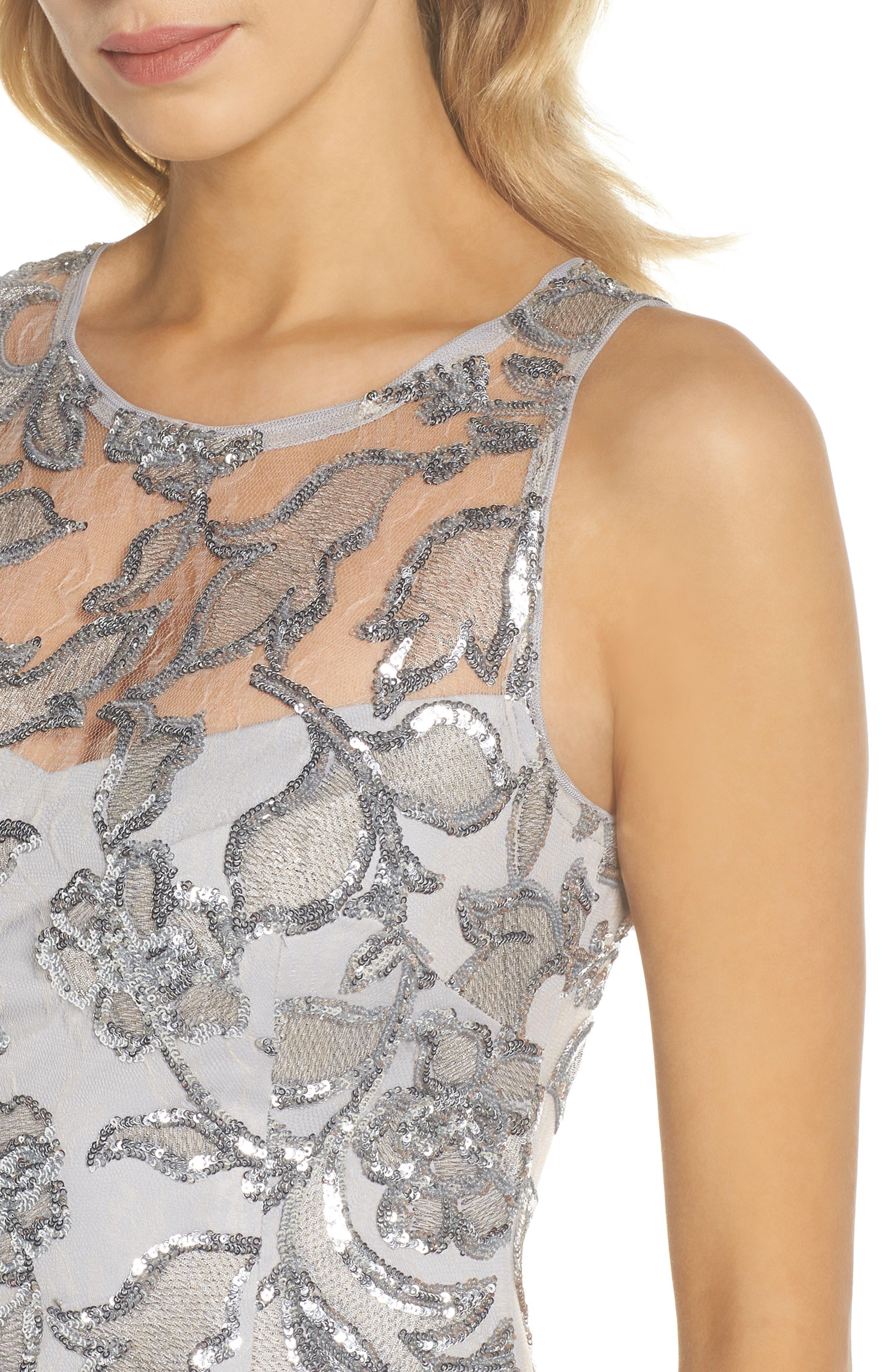 Floral Sequin Sheath Dress,                             Alternate thumbnail 4, color,                             SILVER