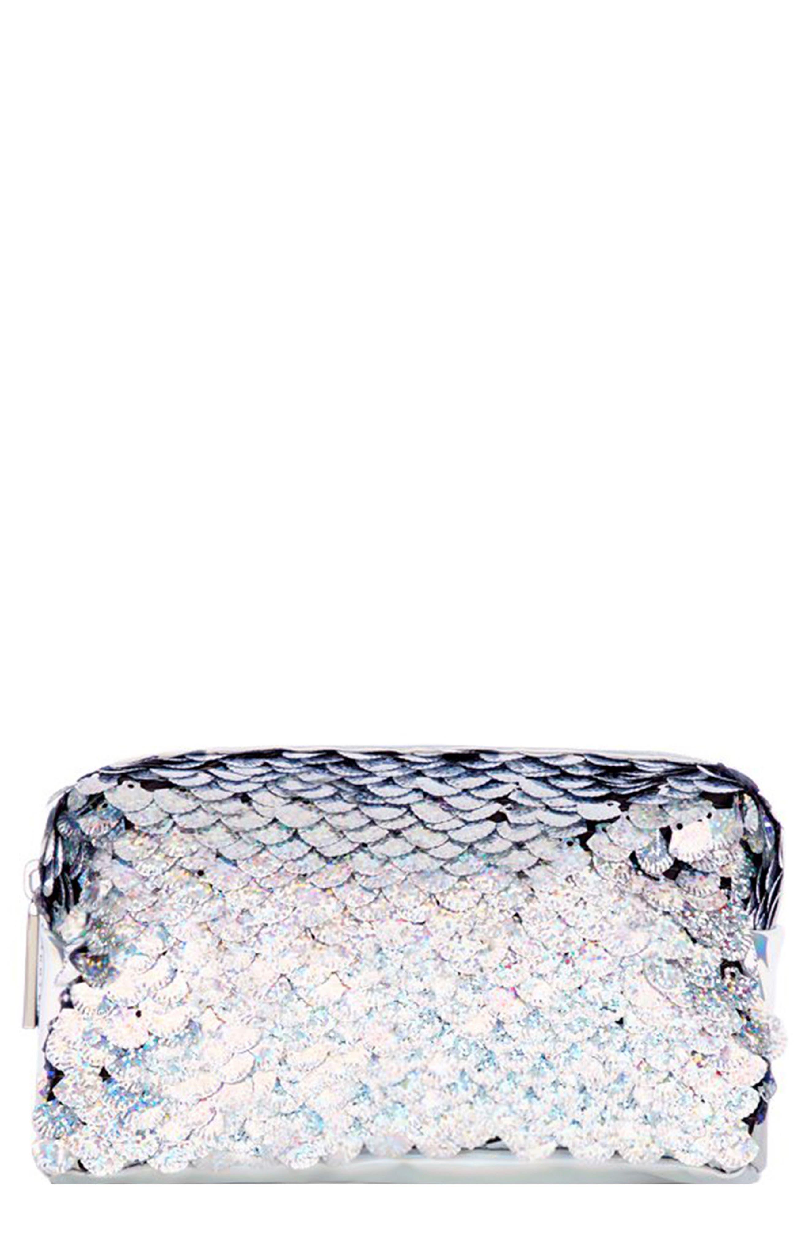 Sequin Makeup Bag,                             Main thumbnail 1, color,                             NO COLOR