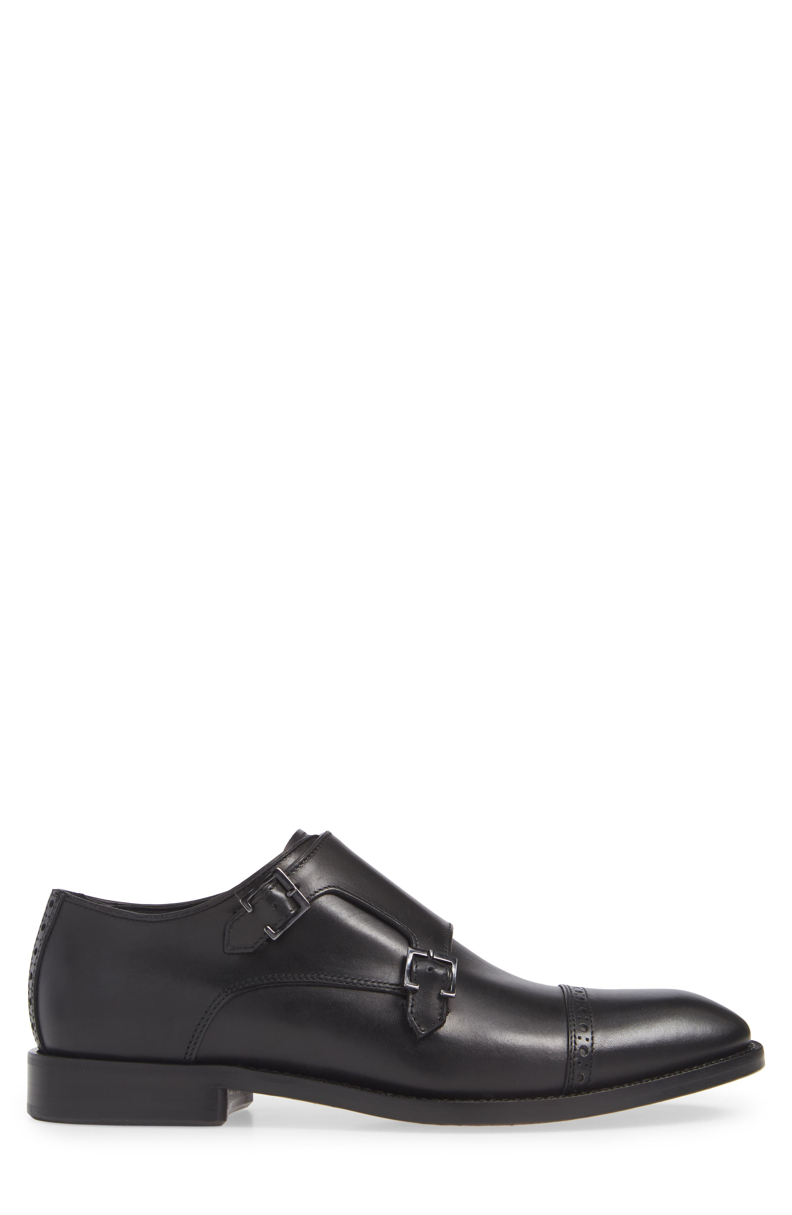 Caravaggio Double Monk Strap Shoe,                             Alternate thumbnail 3, color,                             BLACK LEATHER