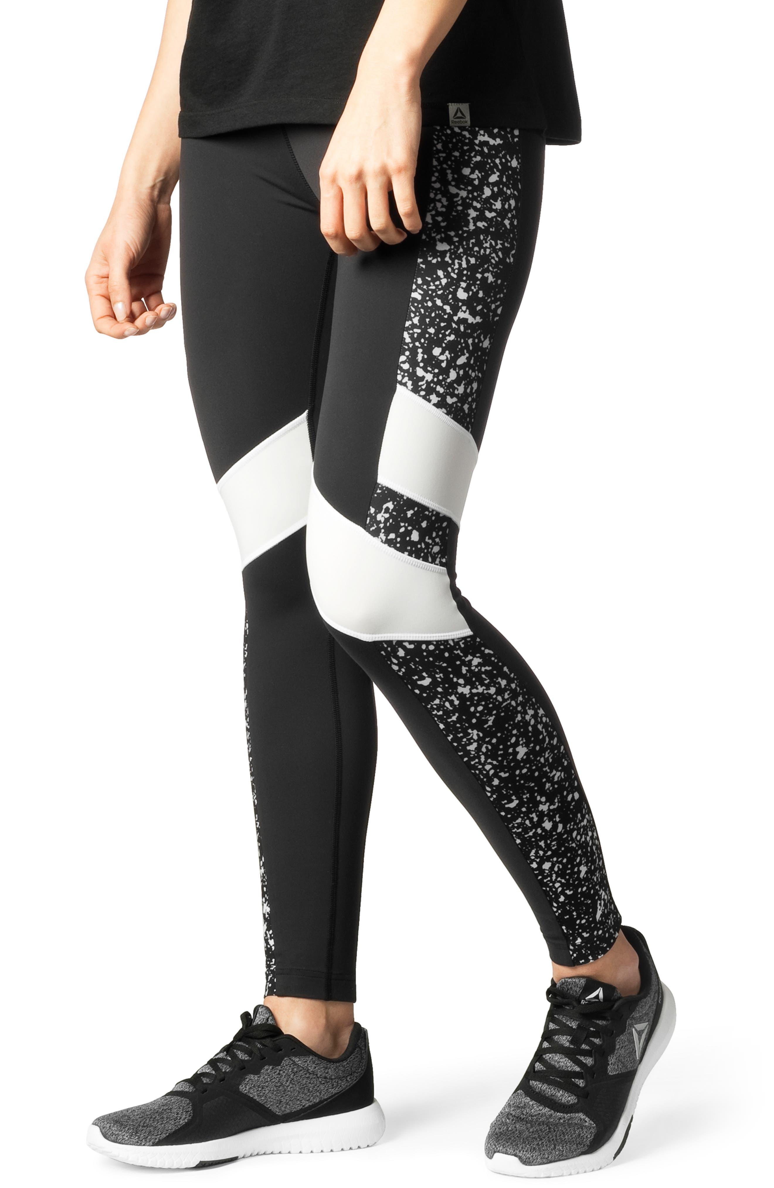 Luxe Colorblock Leggings, Main, color, BLACK