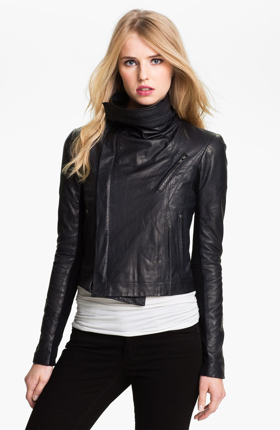 'Max' Seamed Leather Moto Jacket,                             Alternate thumbnail 2, color,                             401