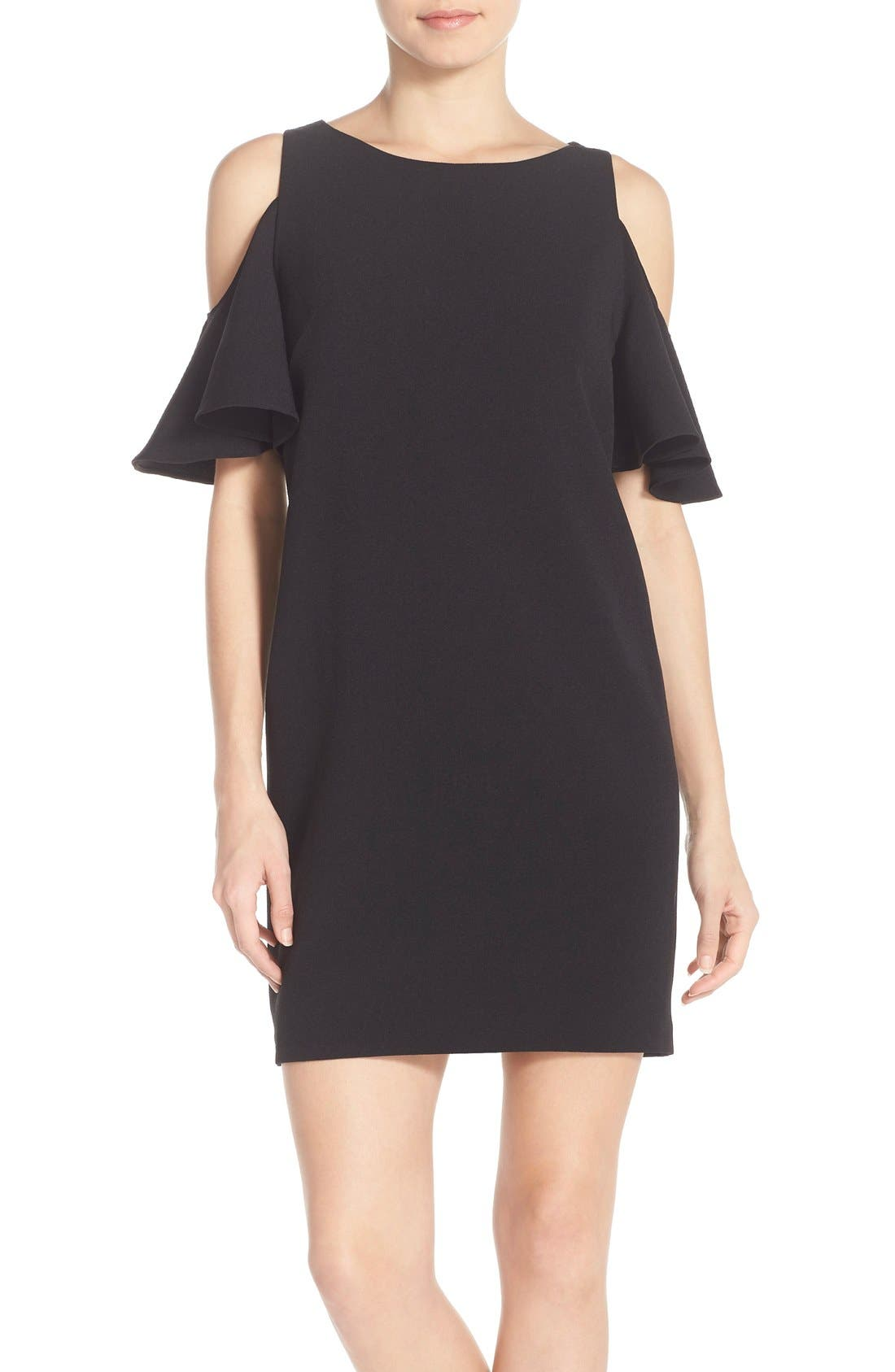 'Peek-A-Boo' Cold Shoulder Shift Dress,                             Main thumbnail 1, color,                             001