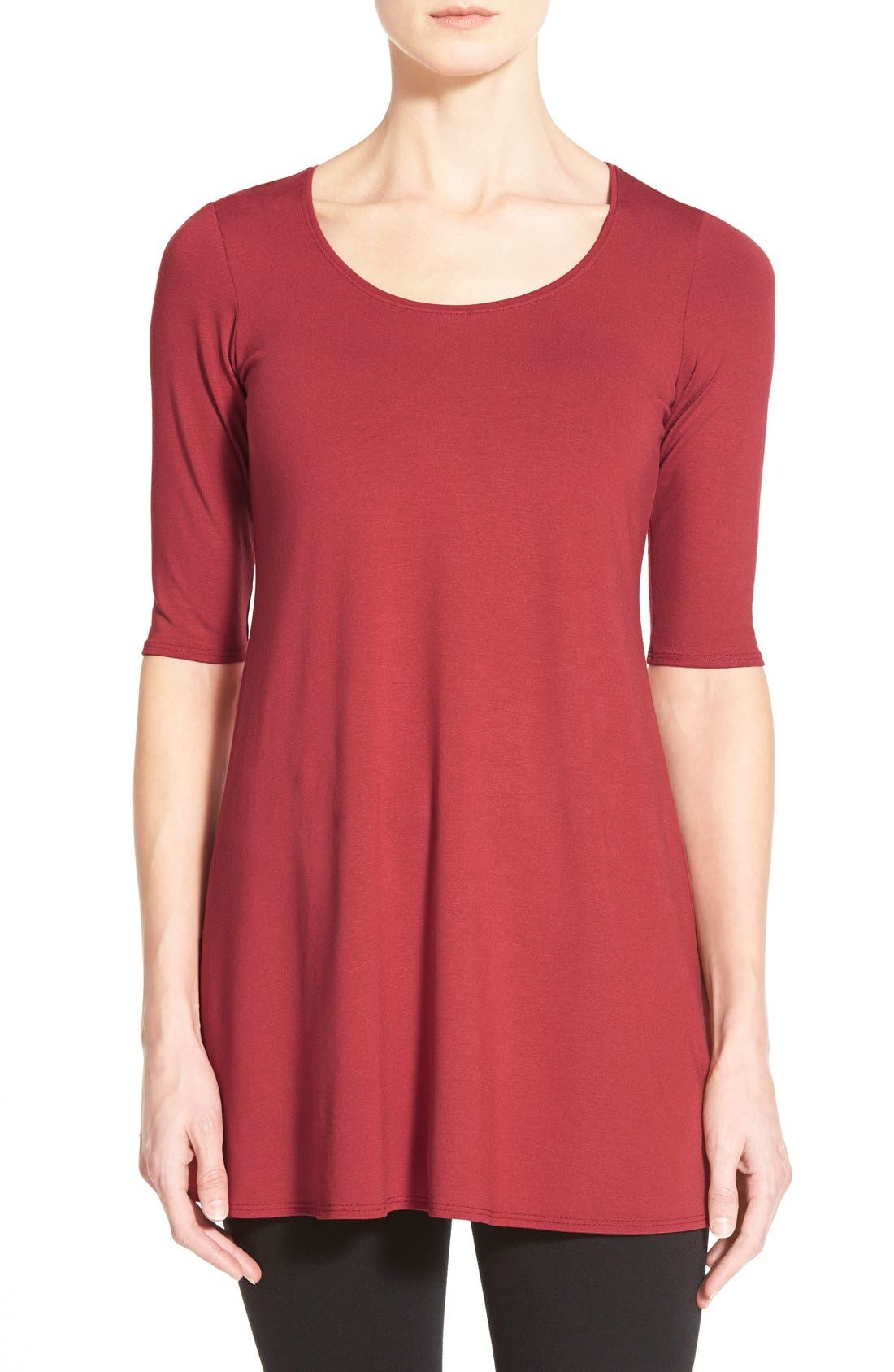 Scoop Neck Elbow Sleeve Jersey Tunic,                             Main thumbnail 19, color,