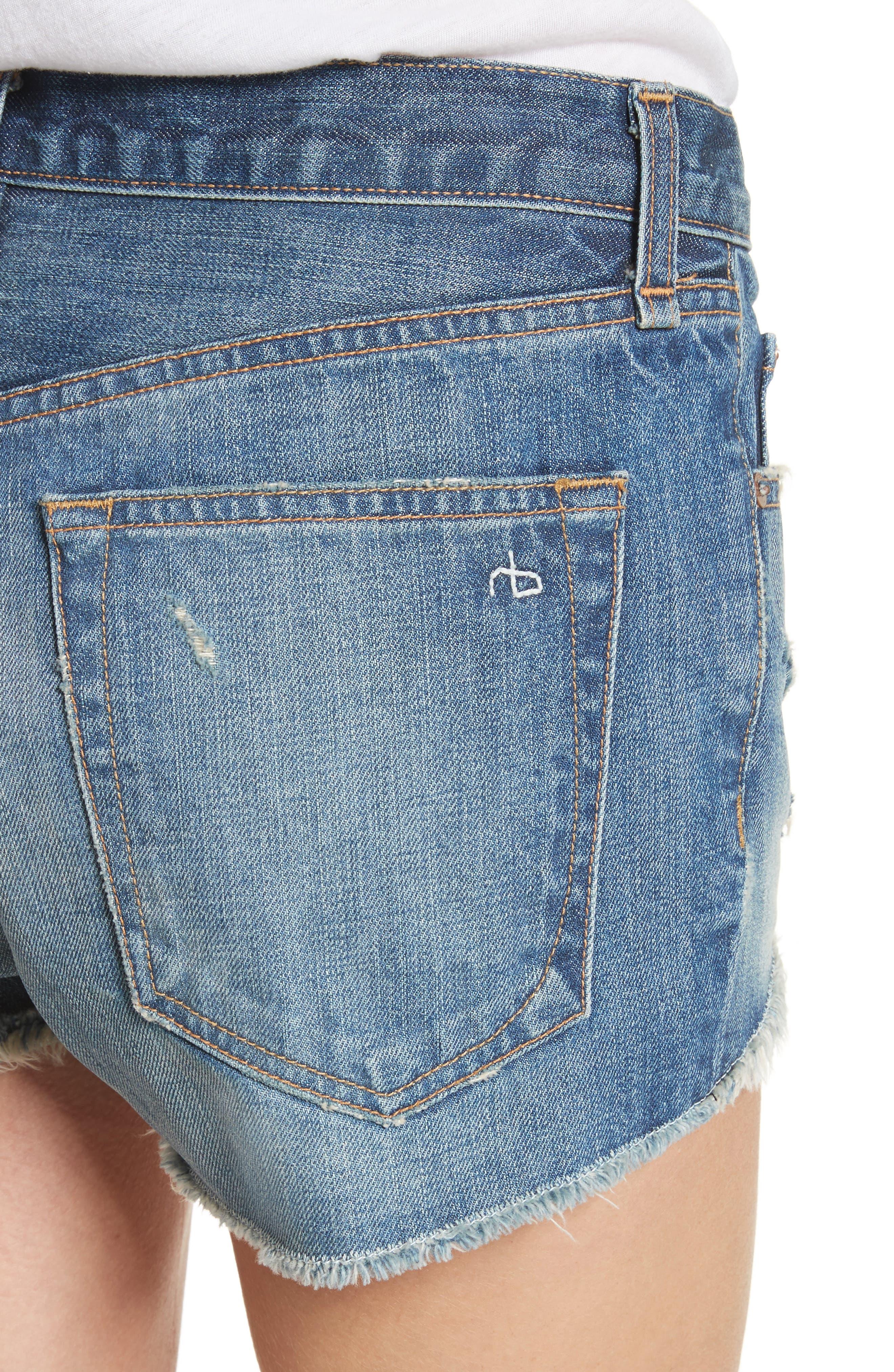 Margaux High Waist Denim Shorts,                             Alternate thumbnail 4, color,                             420