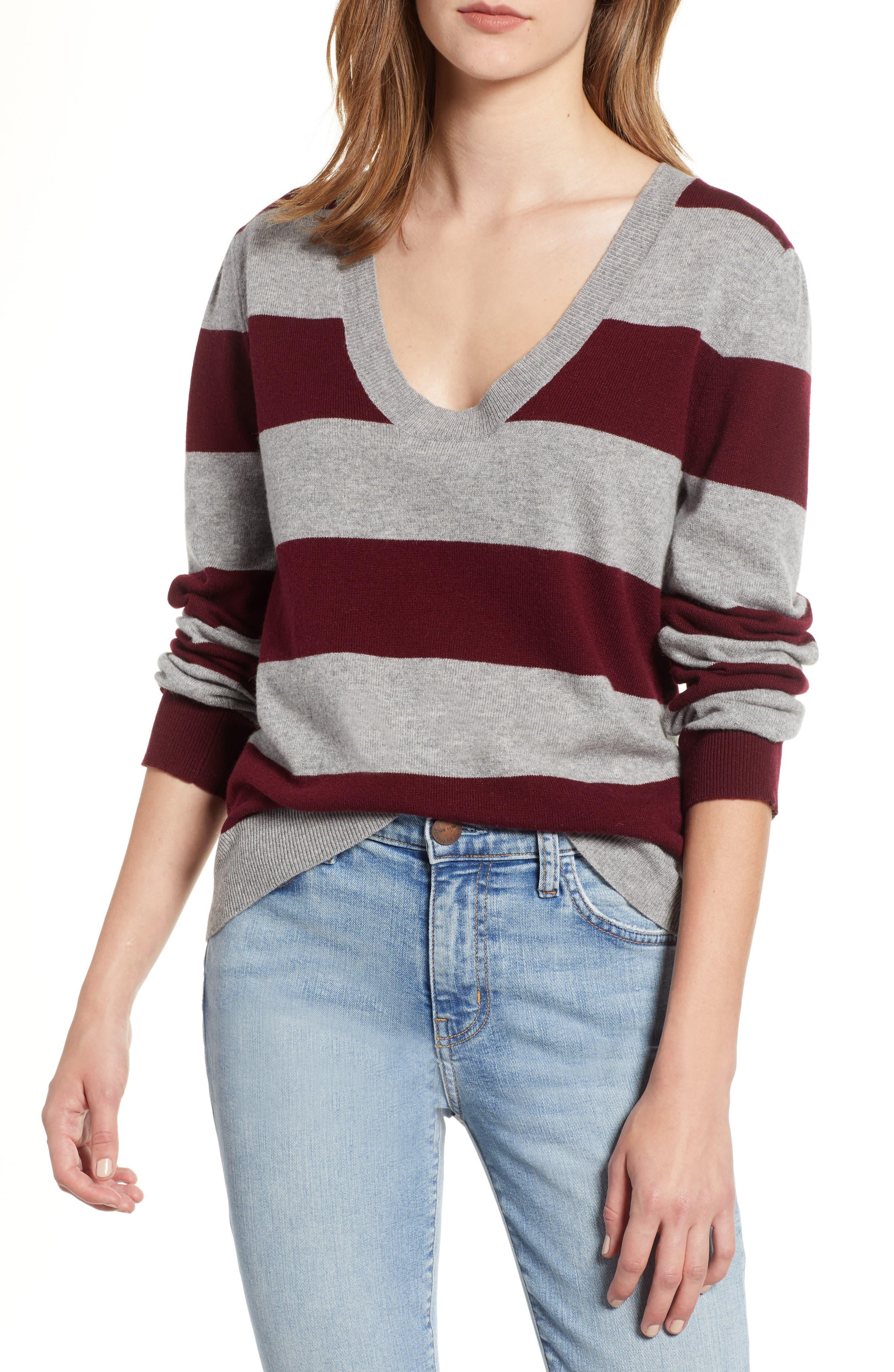 Tara Stripe Cashmere Sweater,                             Main thumbnail 1, color,                             DARK RED/ HEATHER GREY