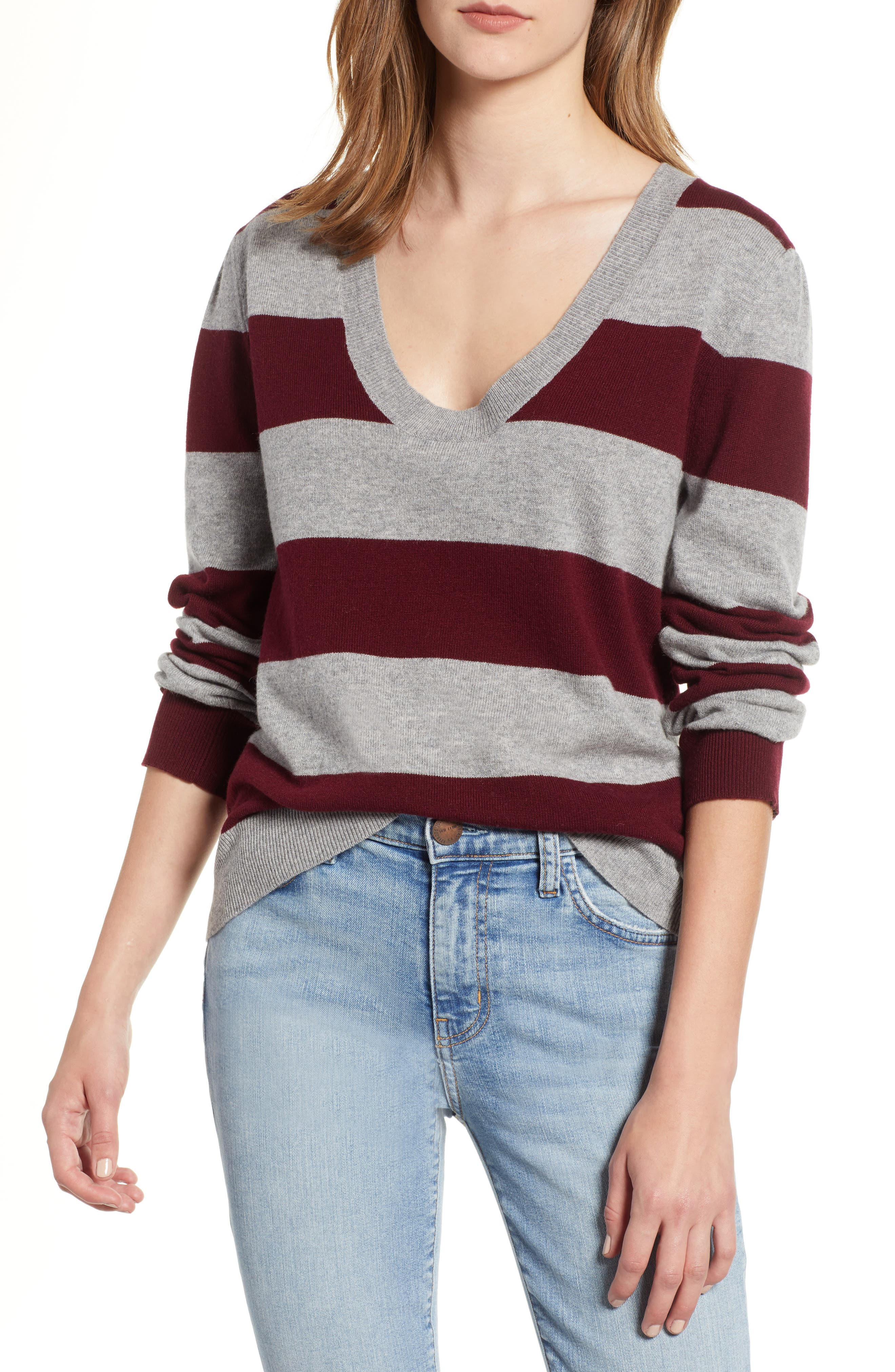 Tara Stripe Cashmere Sweater,                         Main,                         color, DARK RED/ HEATHER GREY