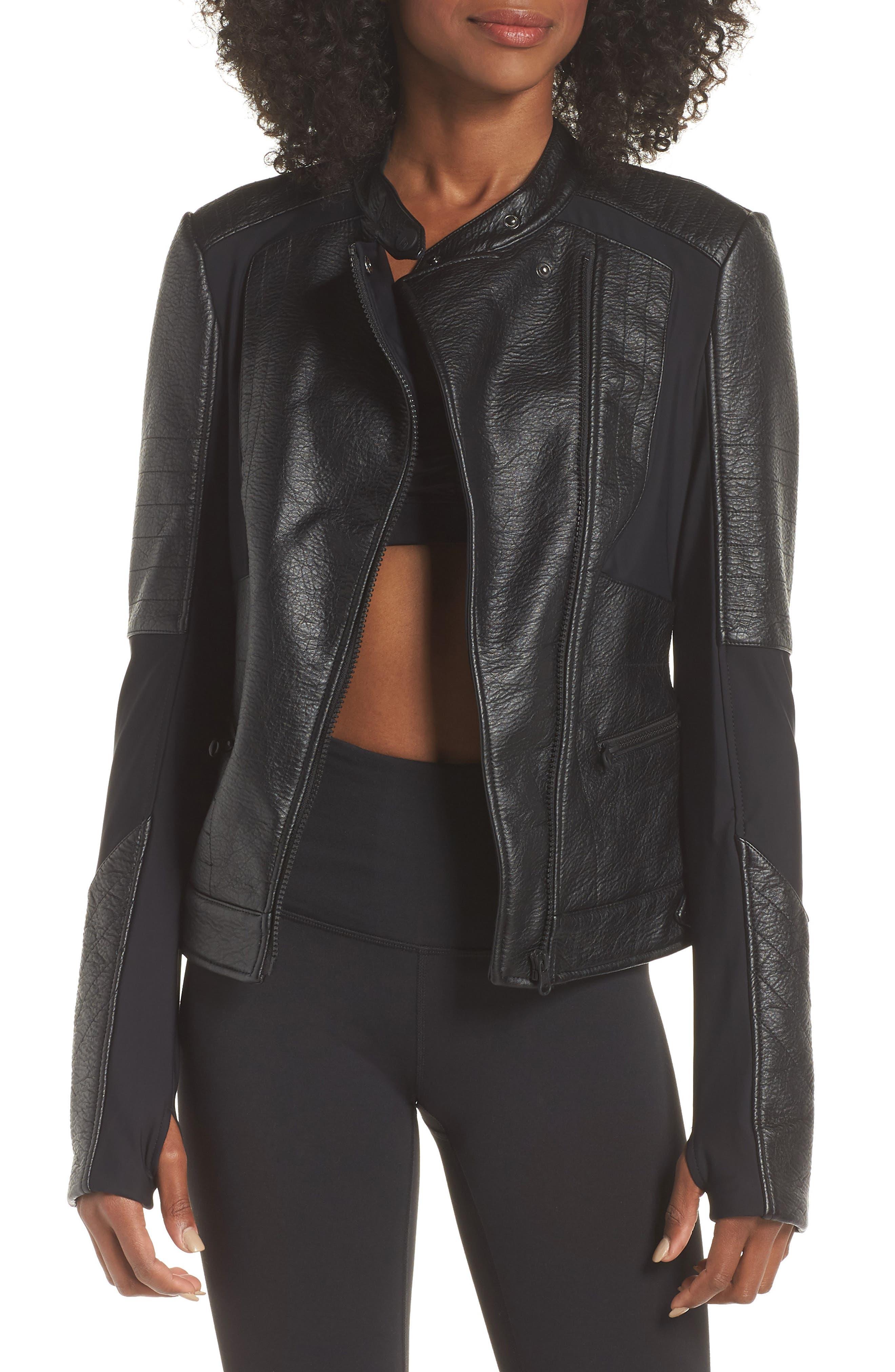 Ryder Faux Leather Moto Jacket,                             Main thumbnail 1, color,                             BLACK/ GREY