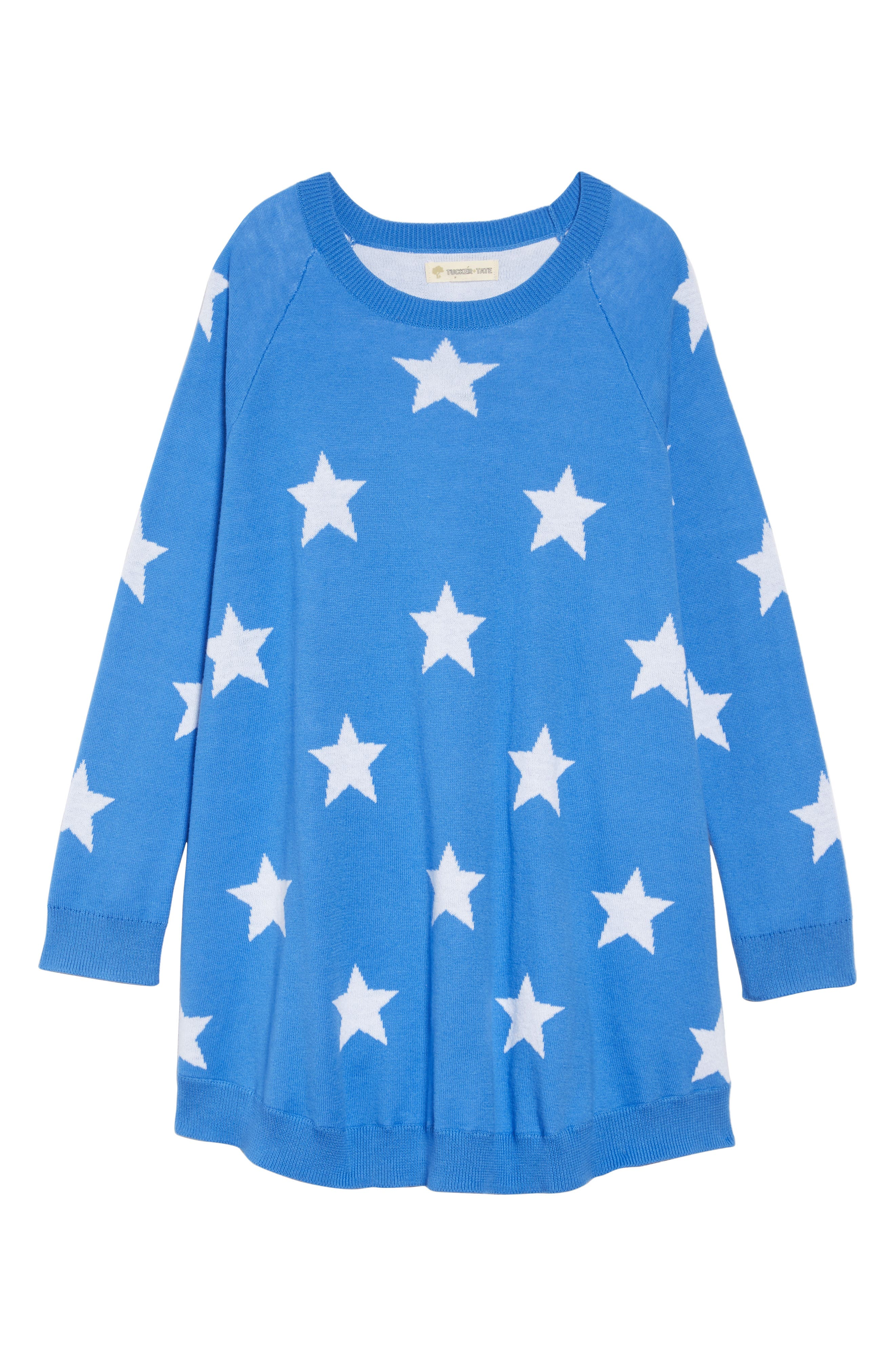 Swingy Sweater Dress,                         Main,                         color, BLUE CAMP STARS