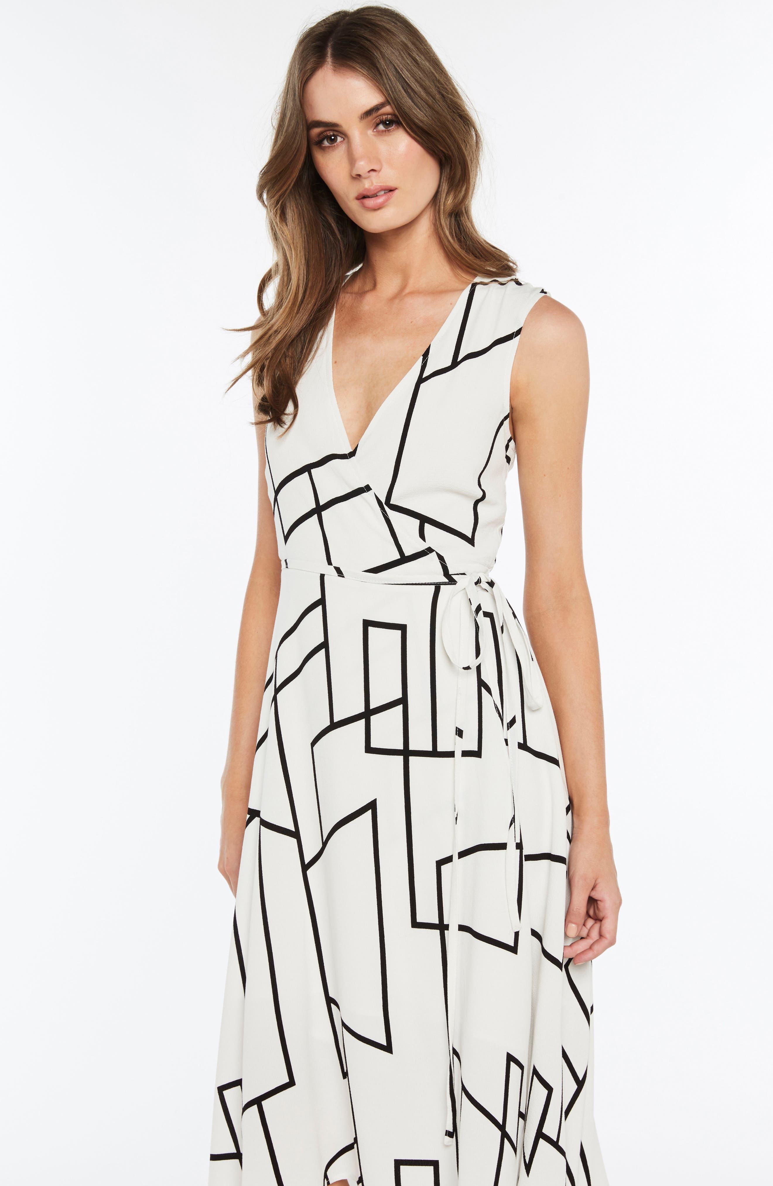 Asymmetrical Wrap Dress,                             Alternate thumbnail 5, color,                             100
