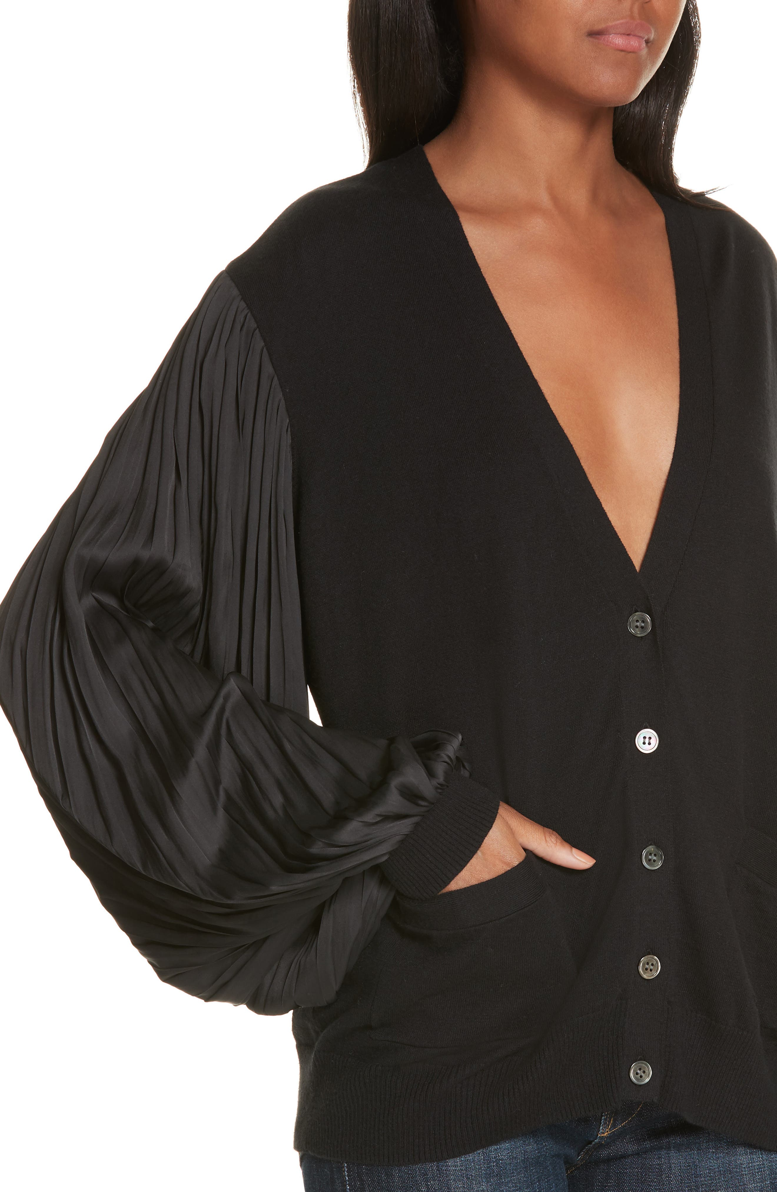 Pleated Balloon Sleeve Cotton Cashmere Cardigan,                             Alternate thumbnail 4, color,                             BLACK