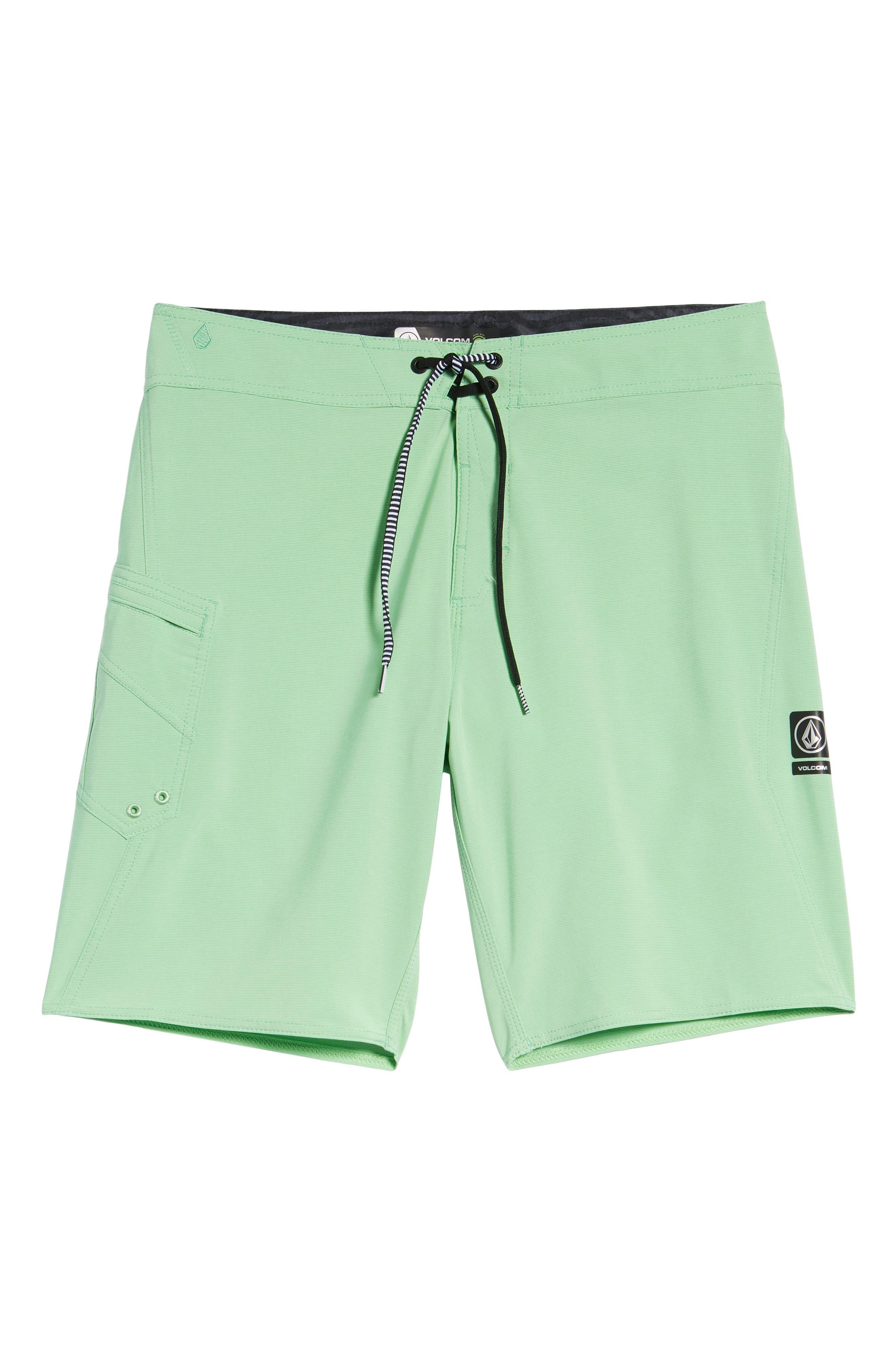 Lido Mod Board Shorts,                             Alternate thumbnail 6, color,                             POISON GREEN
