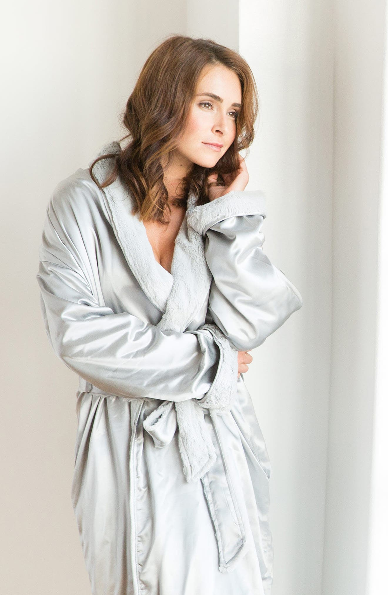 Faux Fur & Satin Robe,                             Alternate thumbnail 3, color,                             SILVER