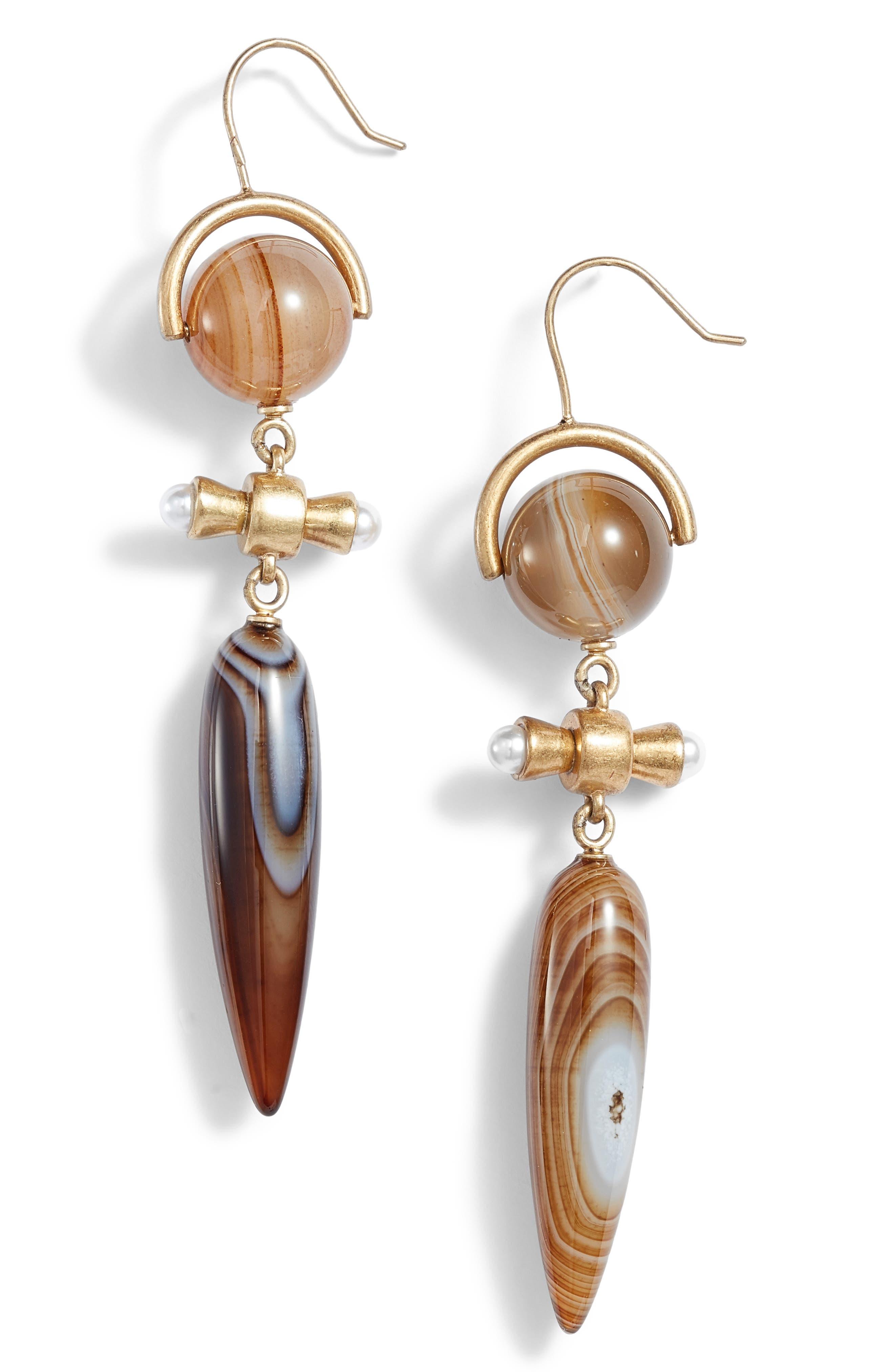 Linear Statement Earrings,                         Main,                         color, AGATE/ BRASS