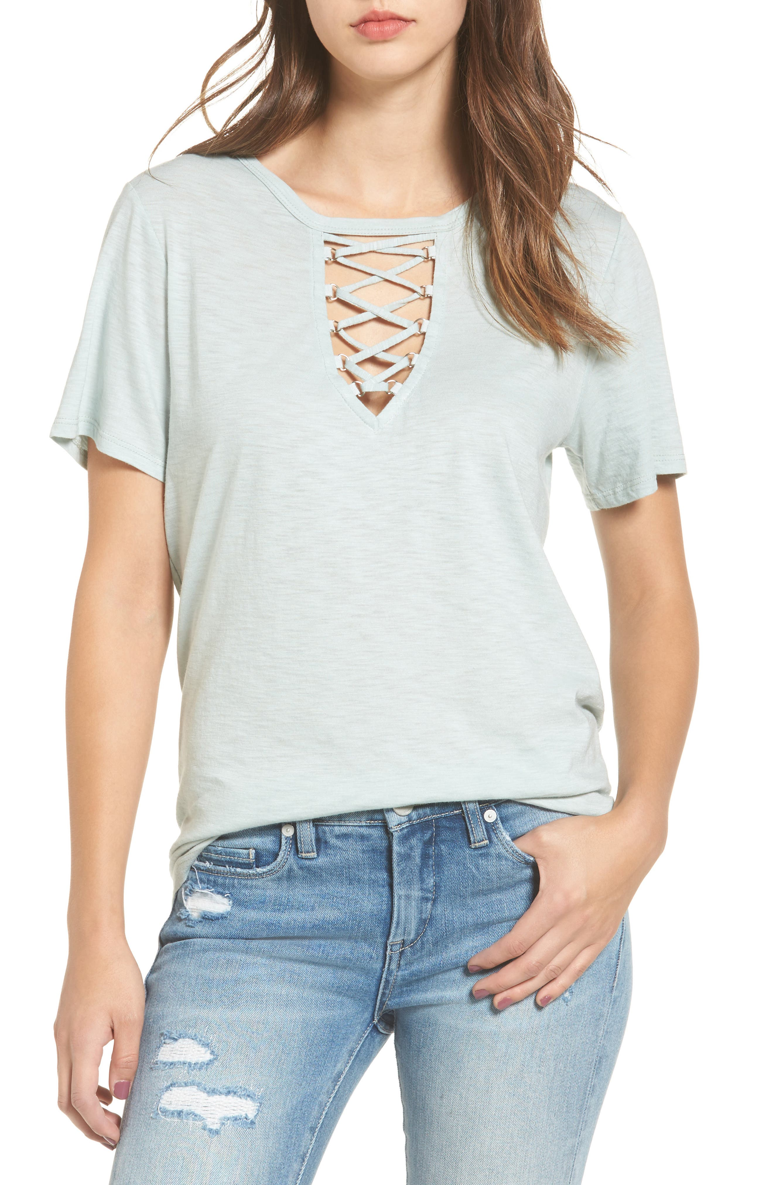 Grommet Lace-Up Tee,                             Main thumbnail 1, color,                             340