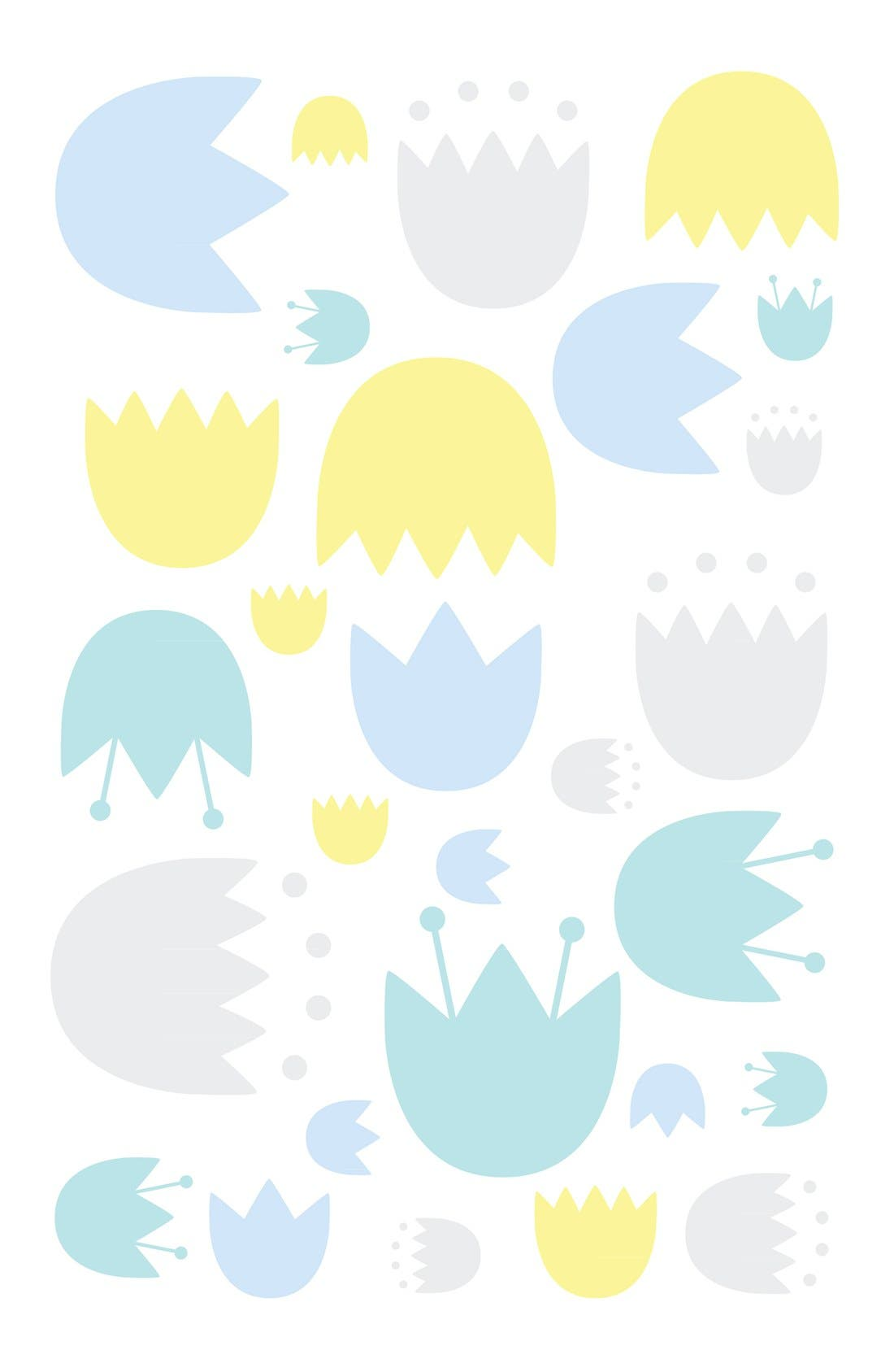 'Garden' Mini Crib Sheet, Changing Pad Cover, Stroller Blanket & Wall Decals,                             Alternate thumbnail 4, color,                             BLUE