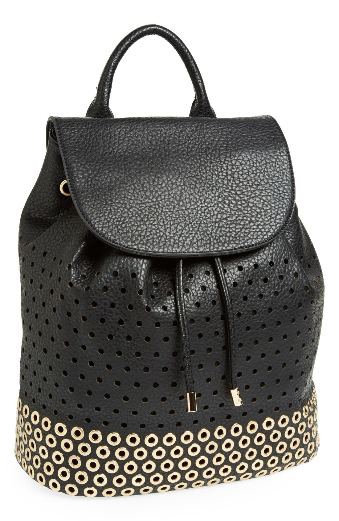 Perforated Faux Leather Backpack, Main, color, 001