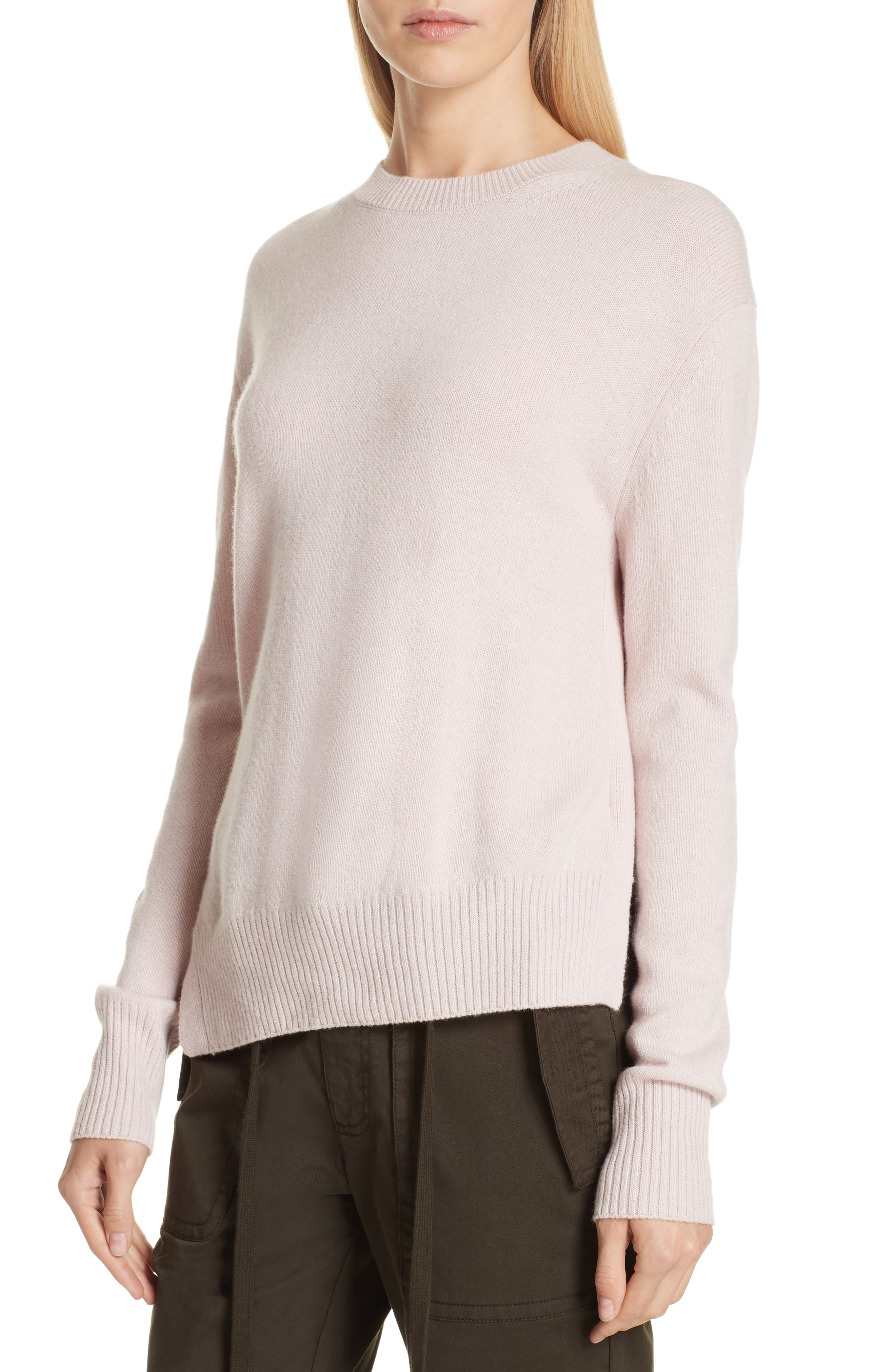 Asymmetrical Cashmere Sweater,                             Alternate thumbnail 4, color,                             CHERRY BLOSSOM