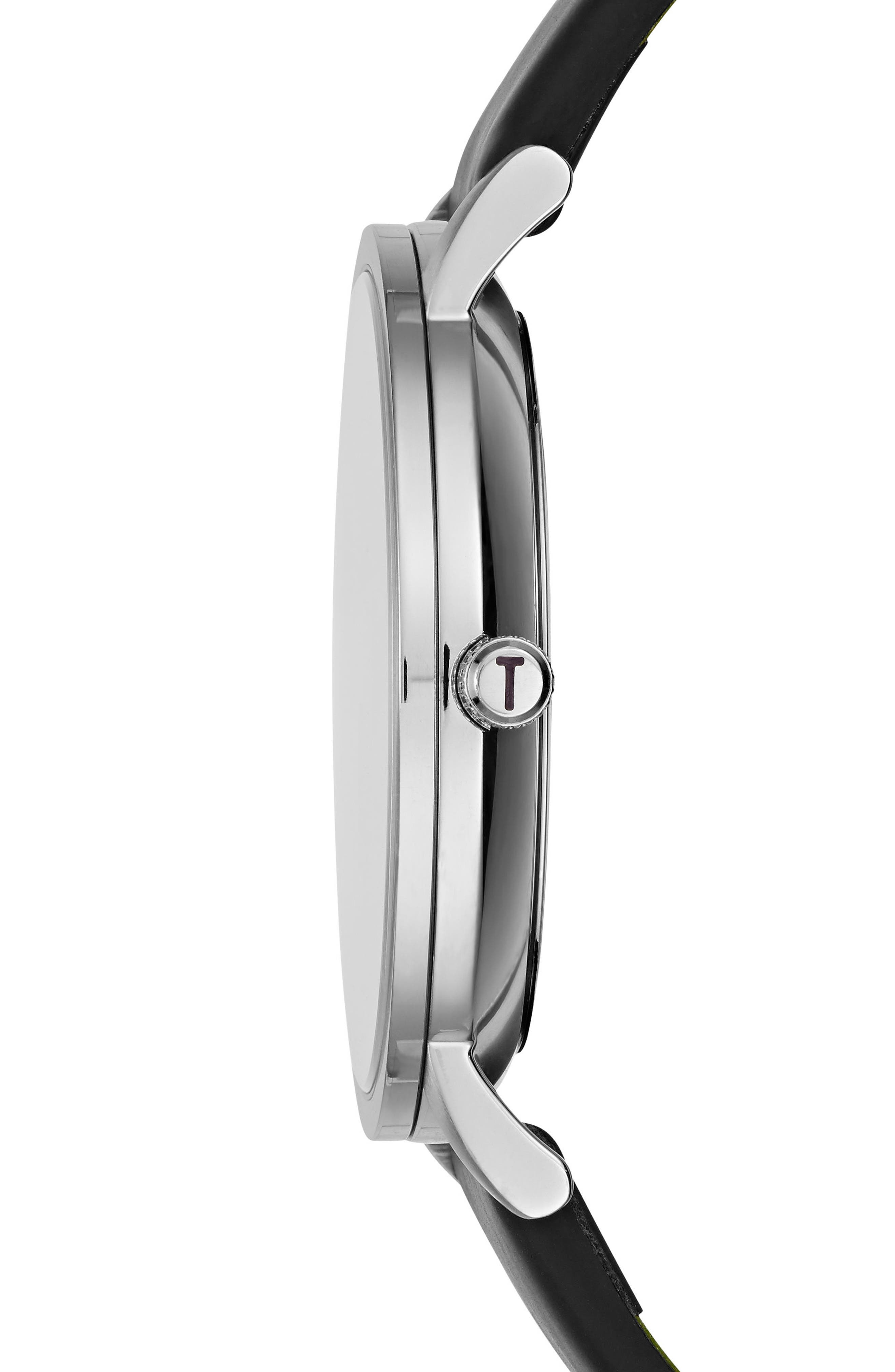 Samuel Slim Leather Strap Watch, 40mm,                             Alternate thumbnail 3, color,                             001