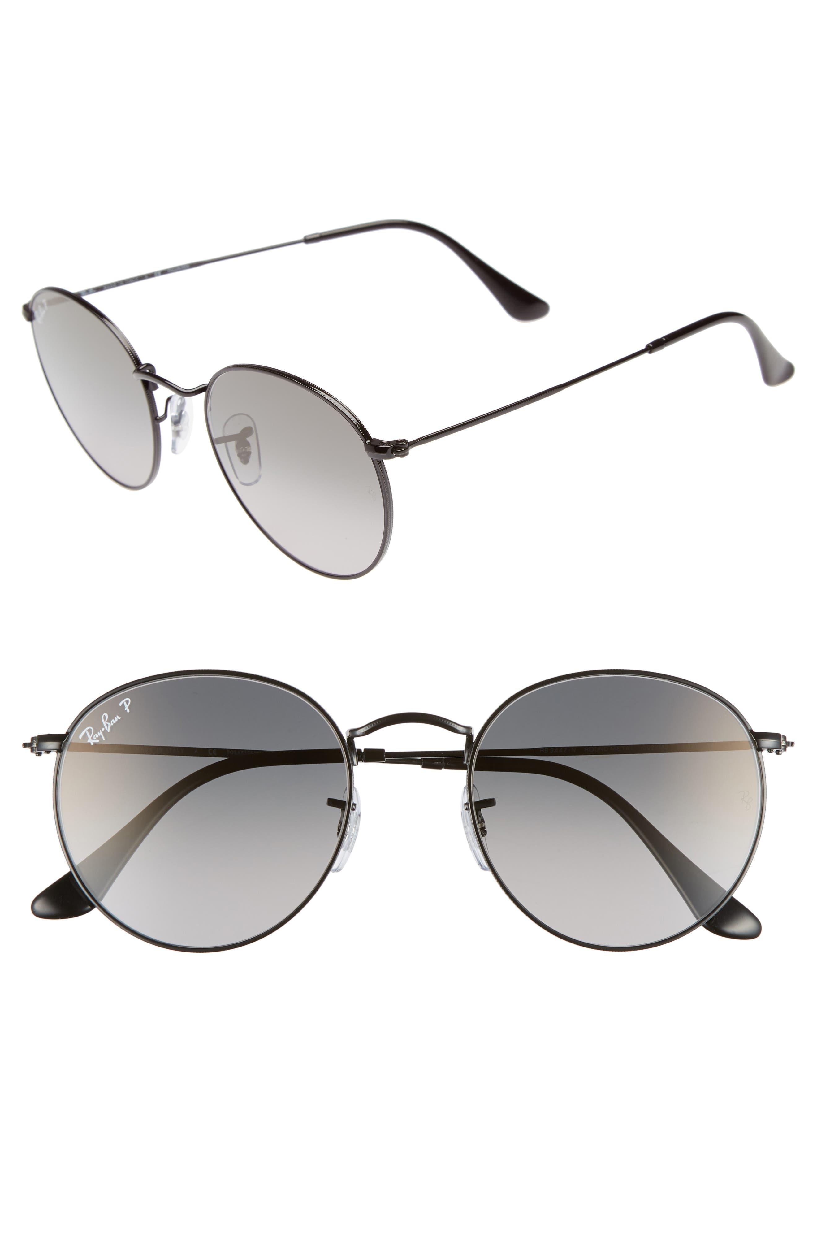 53mm Polarized Round Sunglasses,                             Main thumbnail 1, color,                             BLACK GRADIENT
