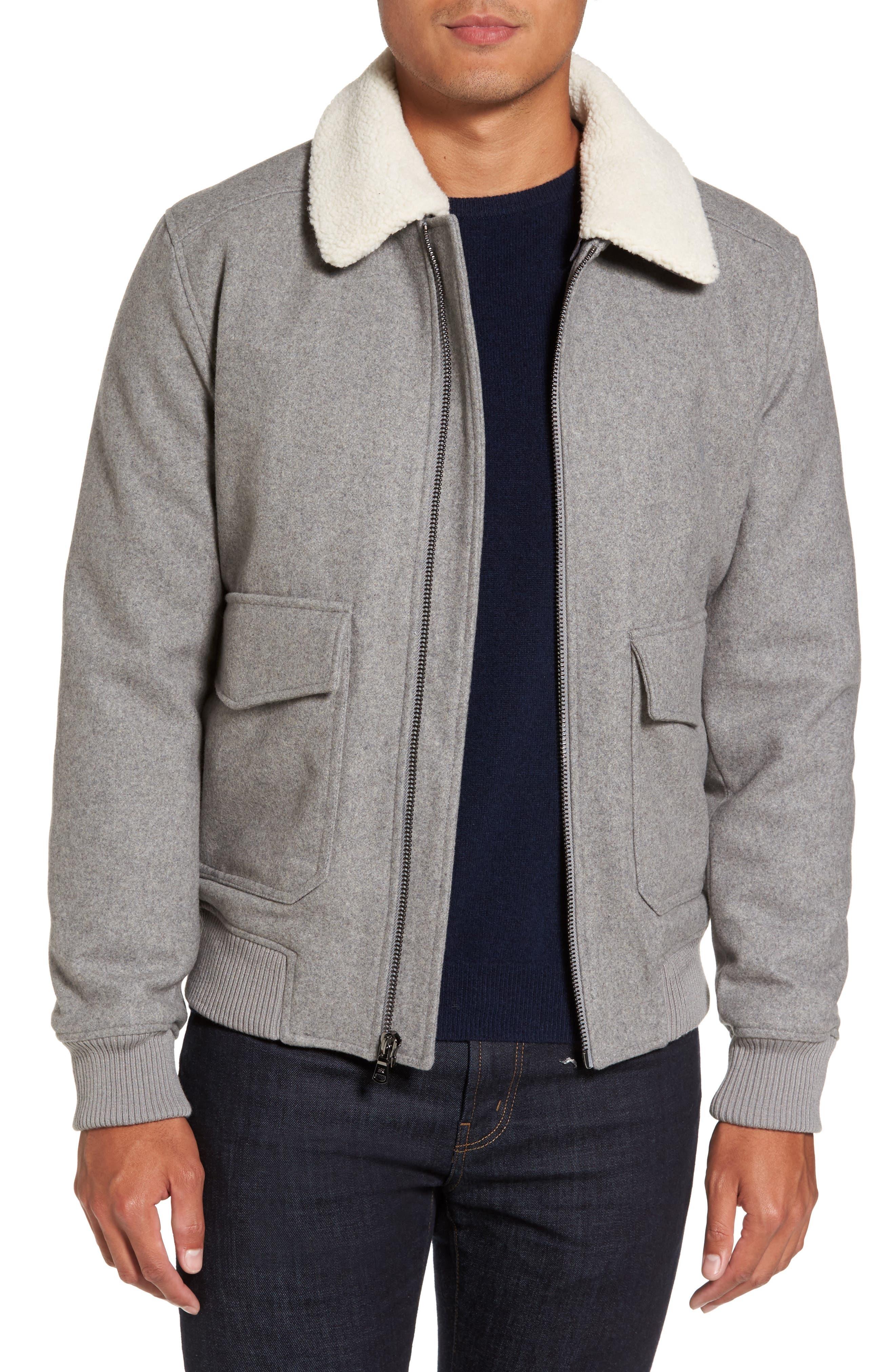 Fleece Collar Wool Blend A-2 Jacket,                             Main thumbnail 1, color,                             034