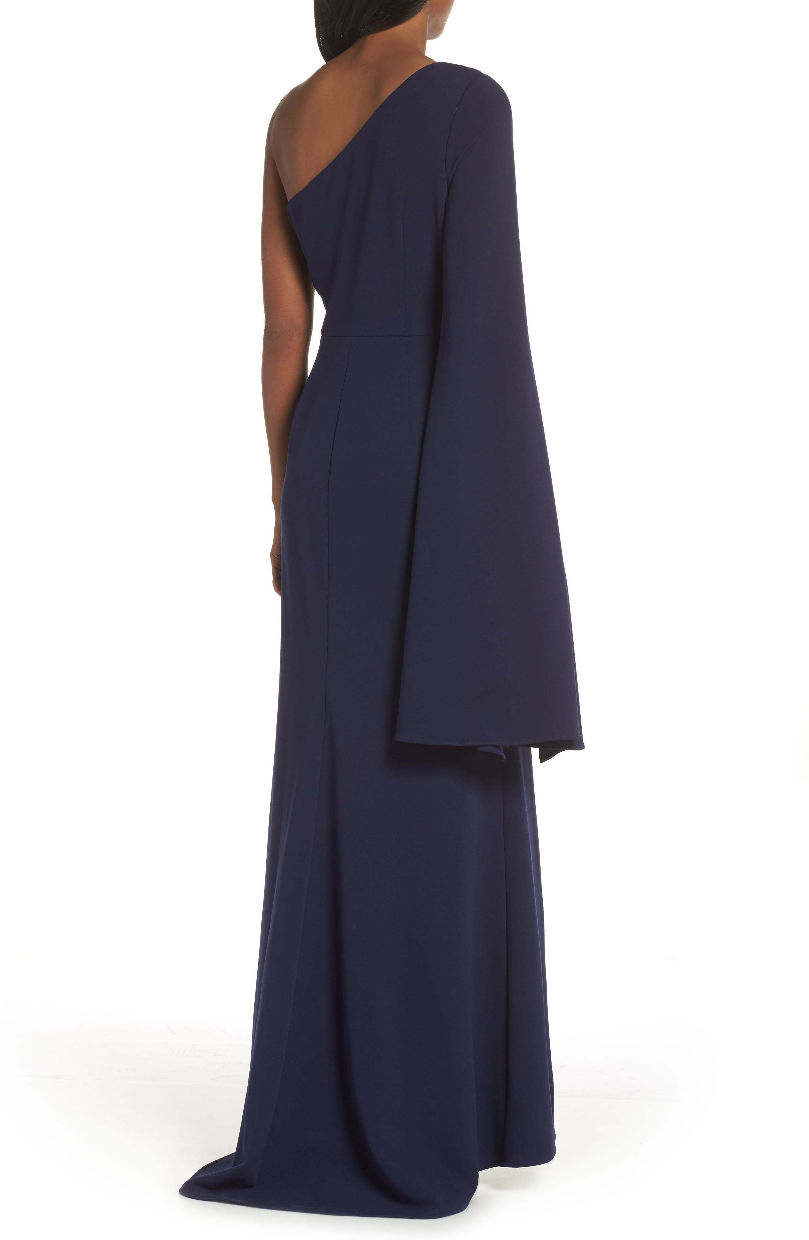 One-Shoulder Gown,                             Alternate thumbnail 2, color,                             NAVY