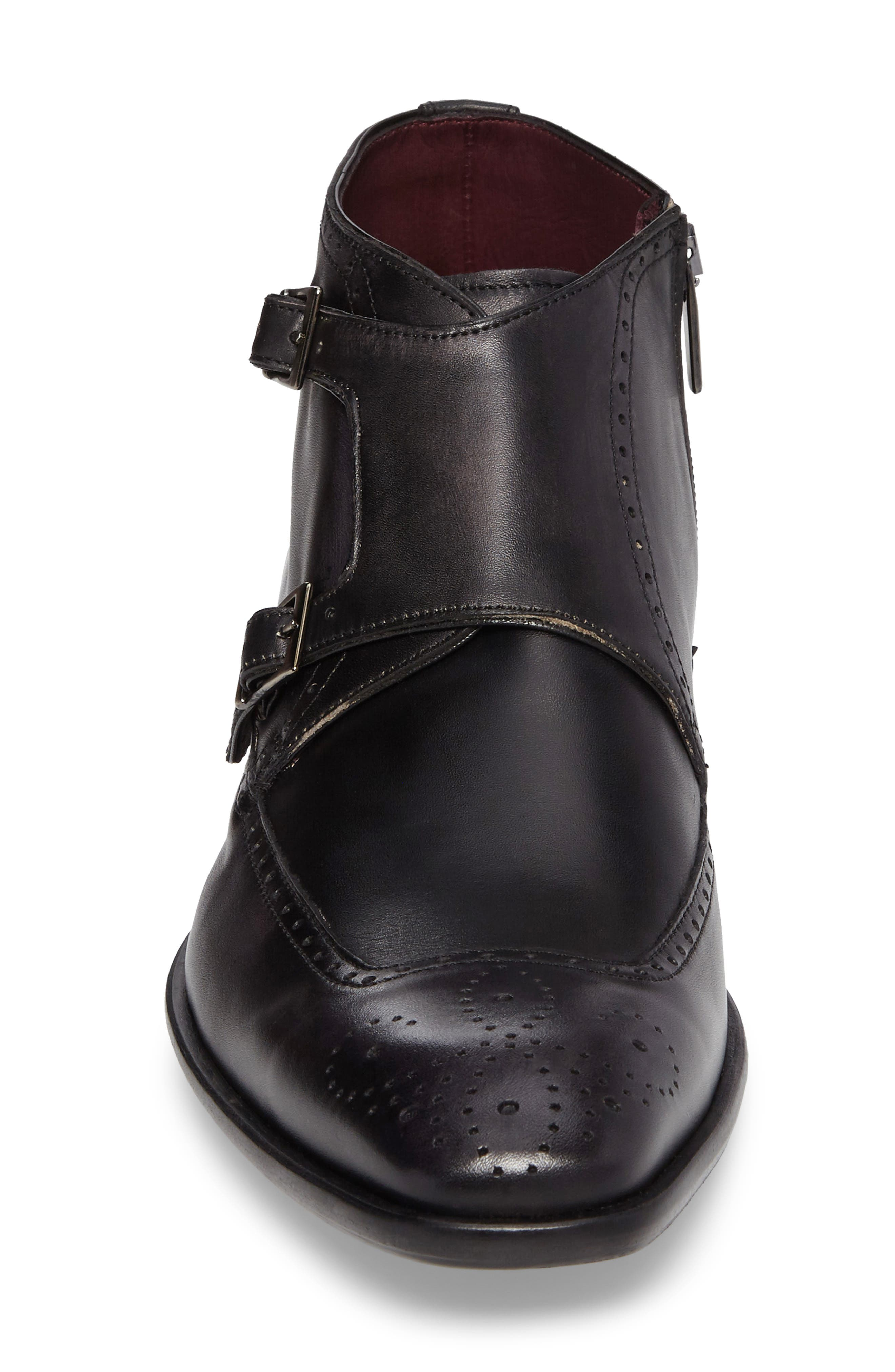 Taberna Double Monk Strap Boot,                             Alternate thumbnail 4, color,                             GRAPHITE LEATHER