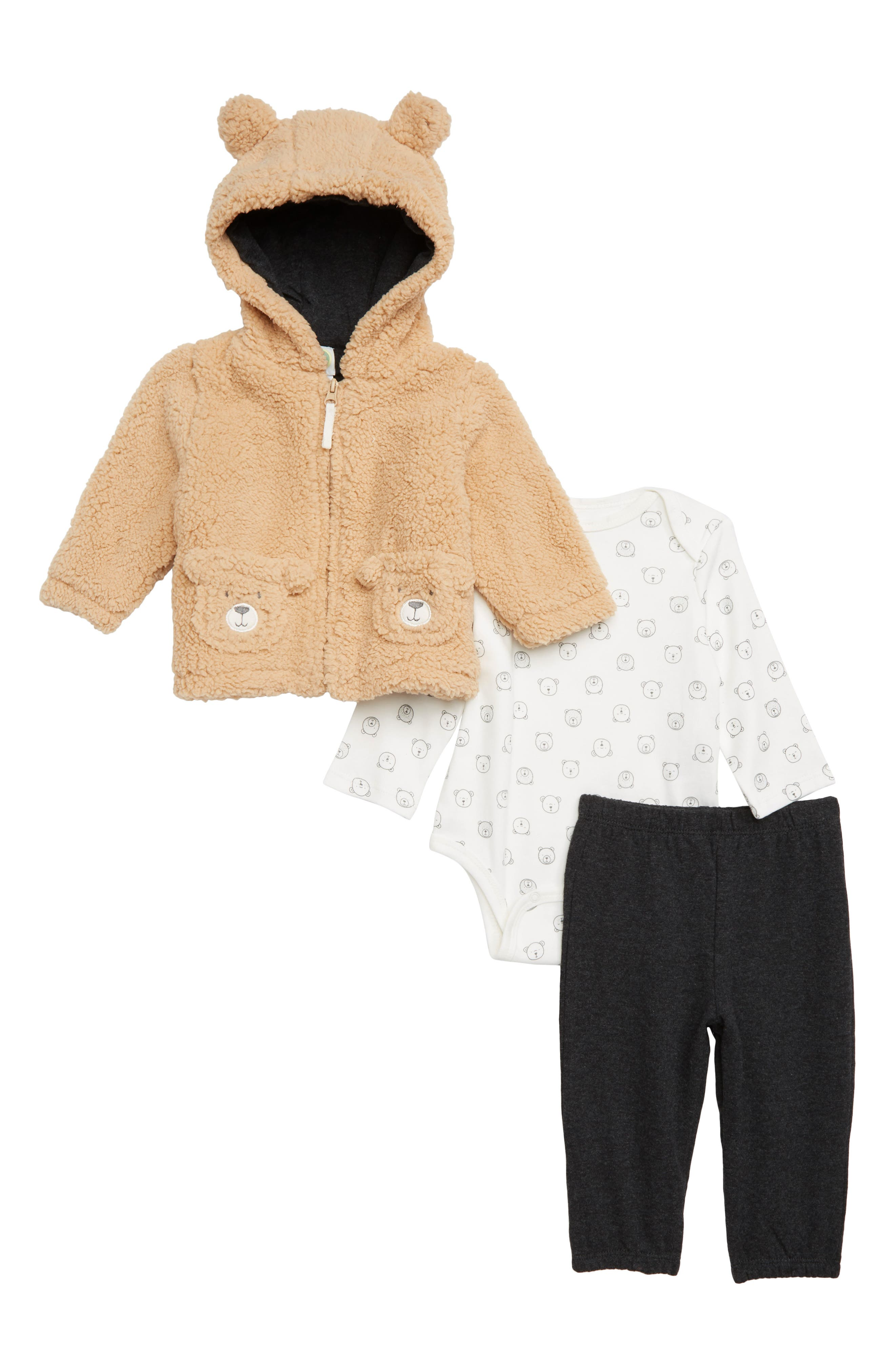 Infant Boys Little Me Bear Hoodie Bodysuit  Pants Set
