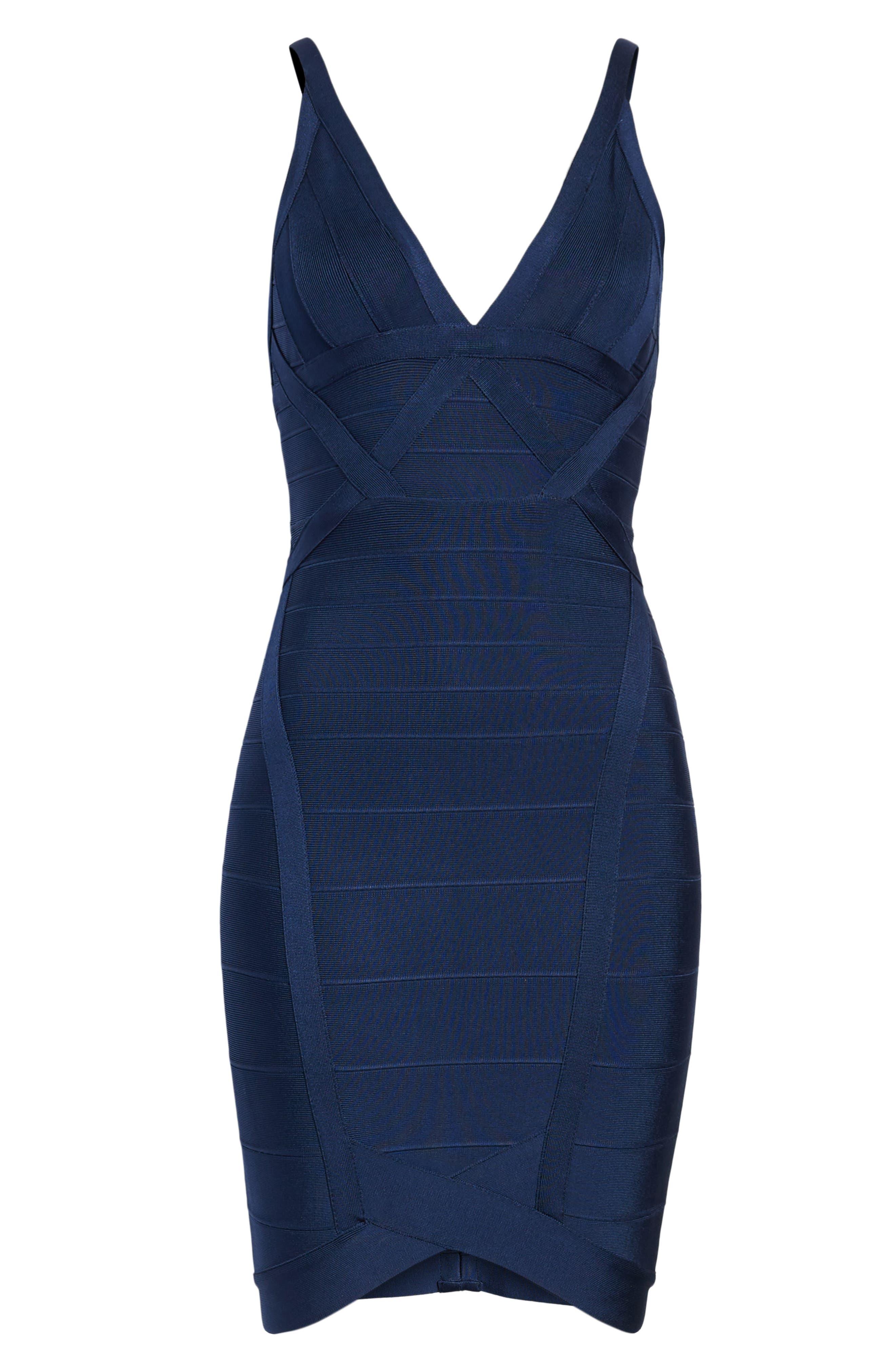 Bandage Body-Con Dress,                             Alternate thumbnail 6, color,                             NAVY BLUE