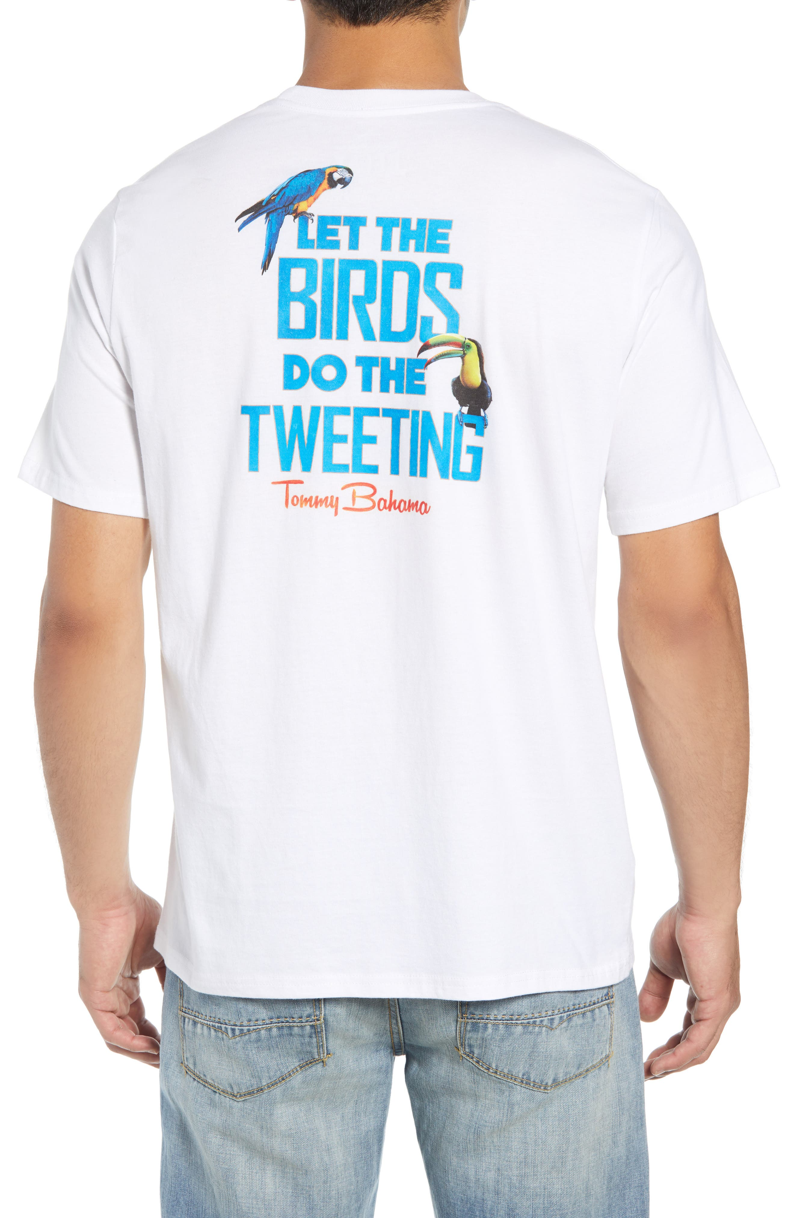 Let the Birds Do the Tweeting T-Shirt,                             Alternate thumbnail 2, color,                             WHITE