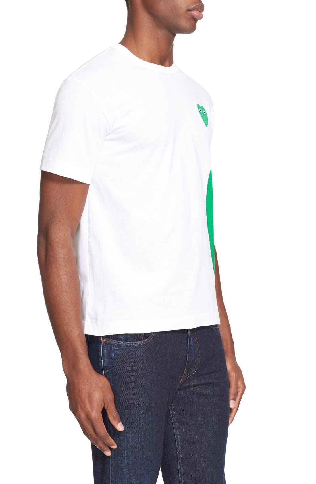 COMME DES GARÇONS PLAY,                             Graphic T-Shirt with Heart Appliqué,                             Alternate thumbnail 3, color,                             WHITE