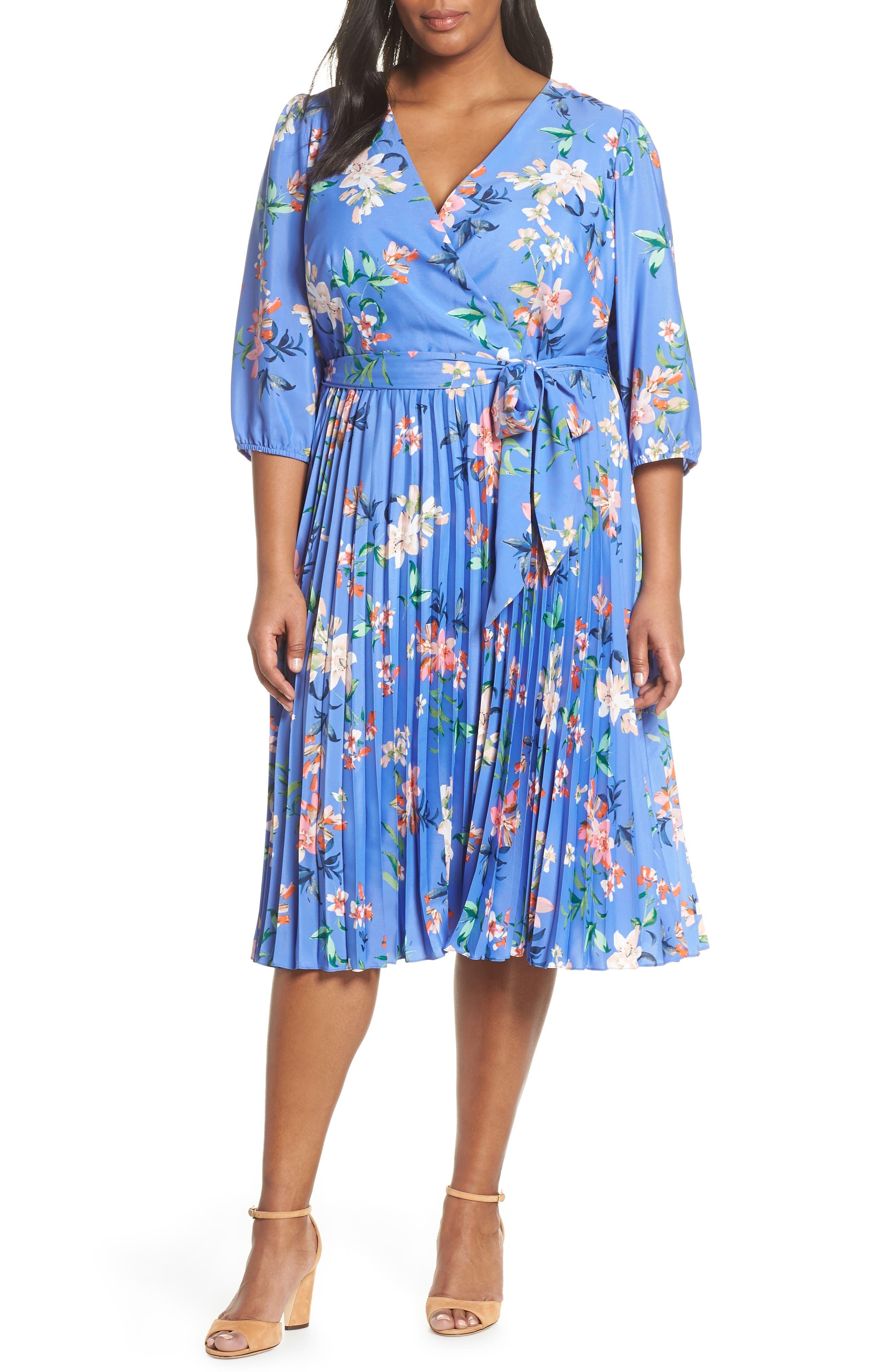 Plus Size Eliza J Pleated Faux Wrap Dress, Blue