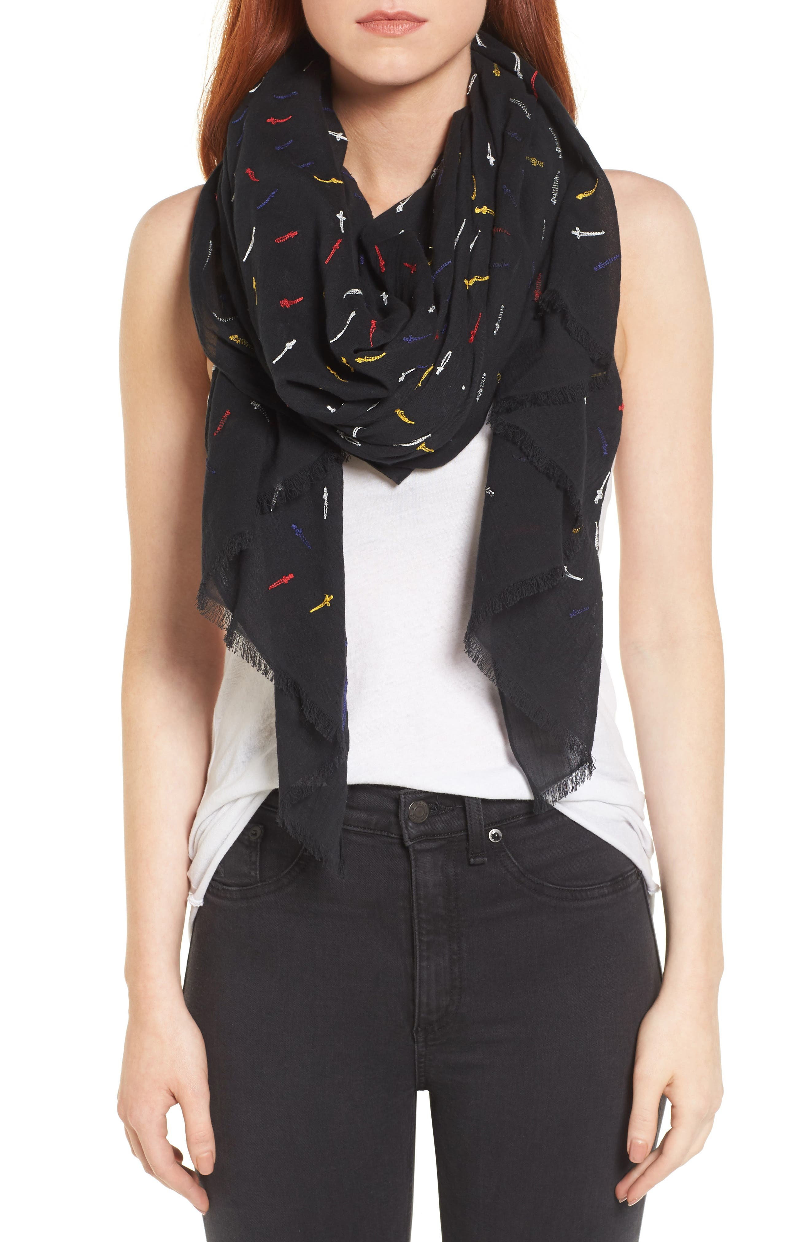 Embroidered Dagger Scarf,                         Main,                         color, 609