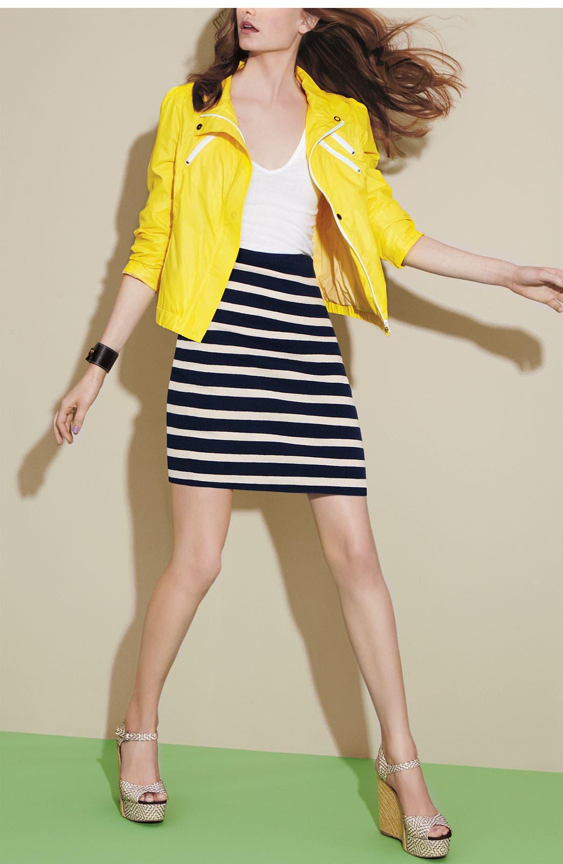 'Skipper' Stripe Pencil Skirt,                             Alternate thumbnail 4, color,                             400