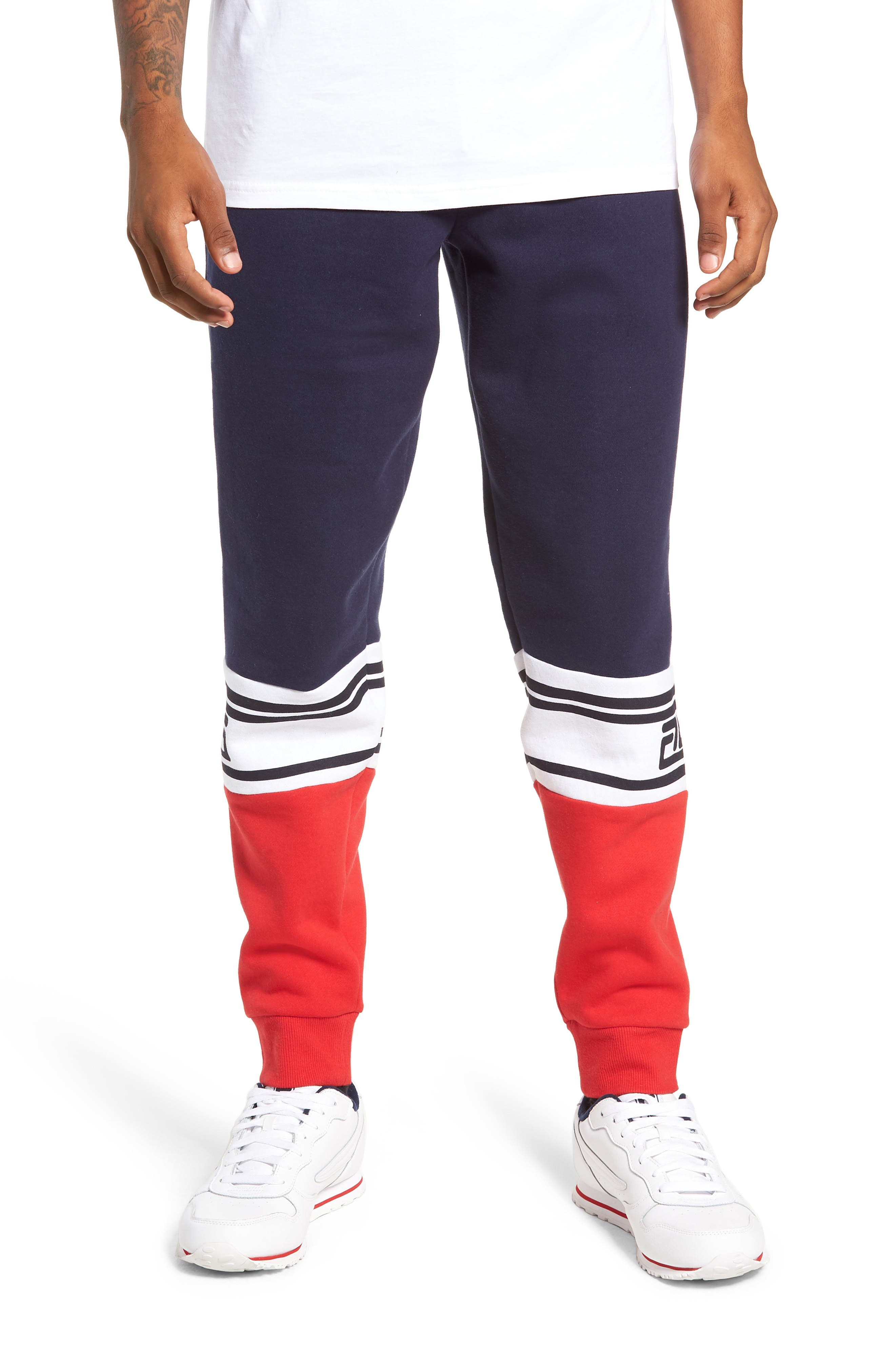 Tricolor Jogger Pants,                         Main,                         color, PEACOAT/ CHINESE RED