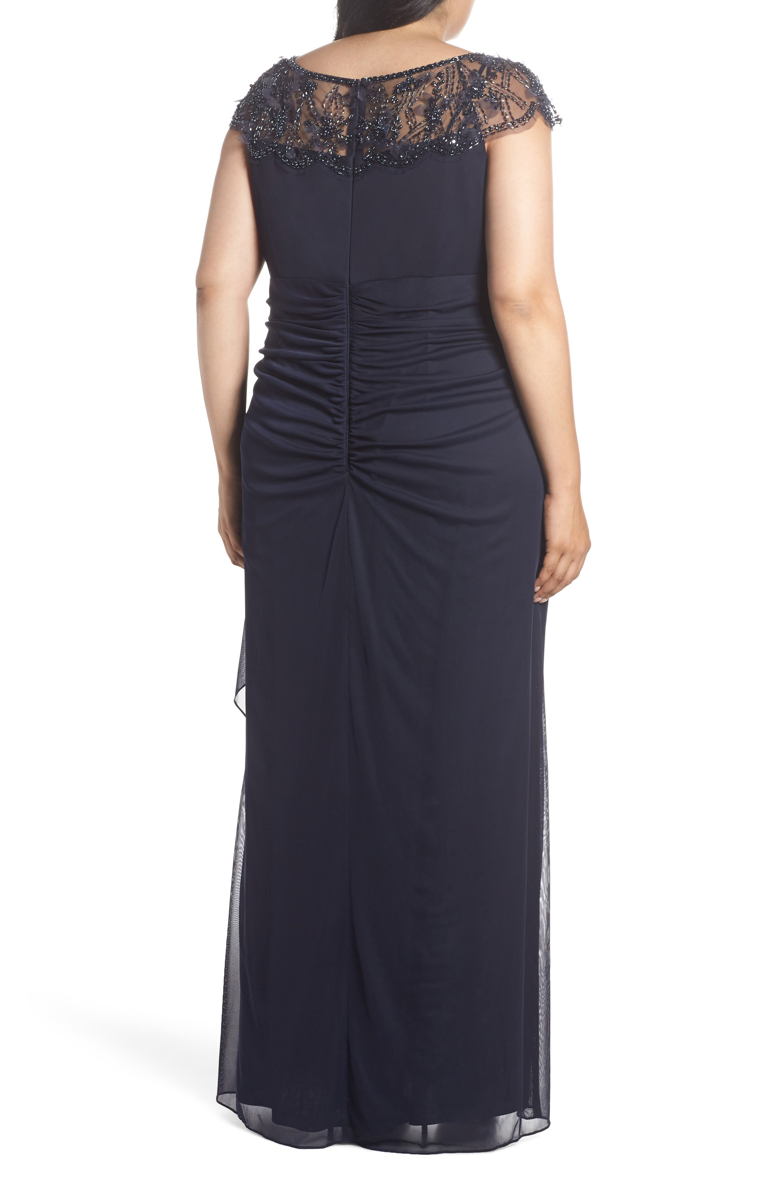 Ruched Side Beaded Gown,                             Alternate thumbnail 2, color,                             NAVY/ NAVY