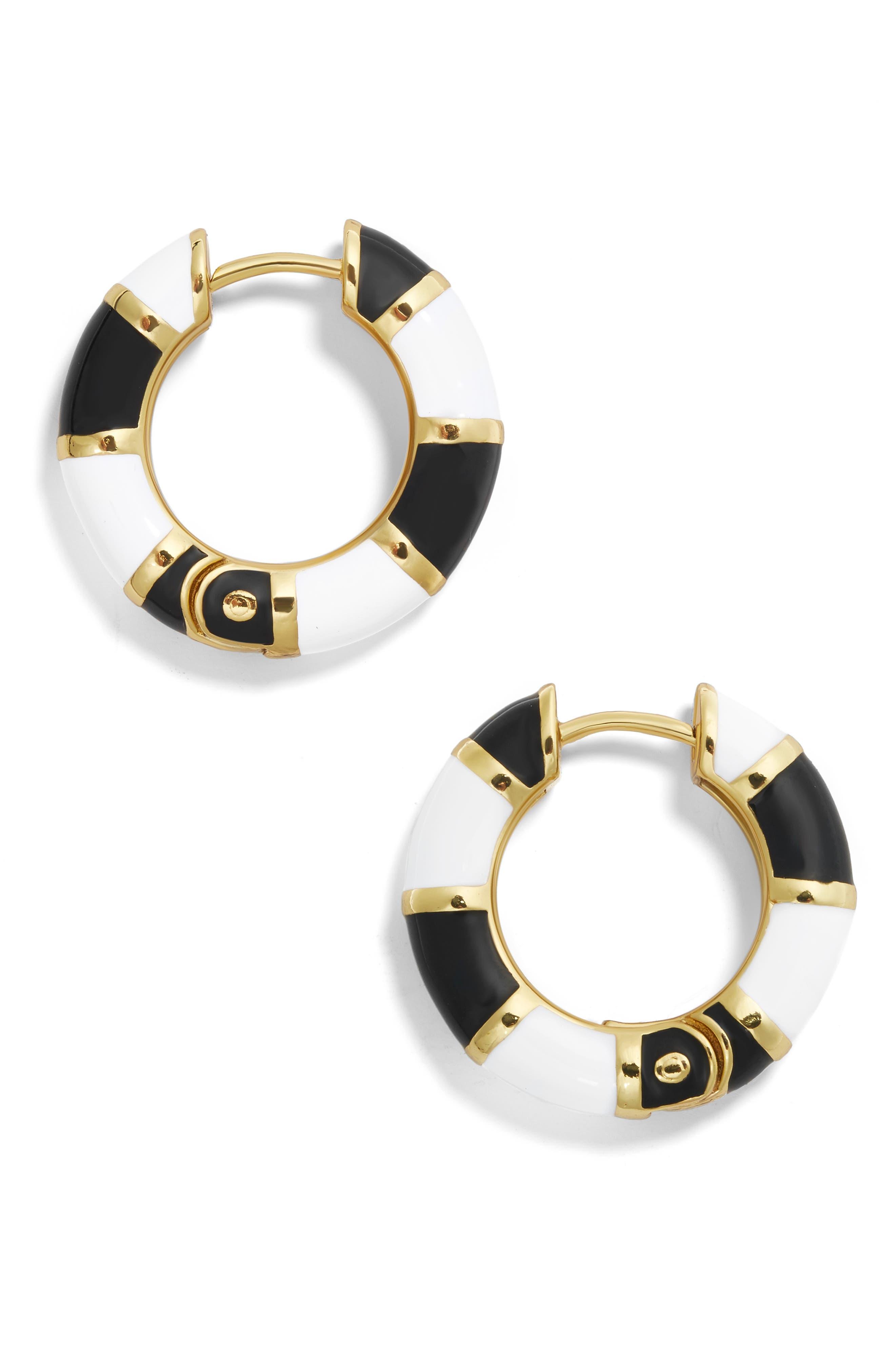 BAUBLEBAR Manila Enamel Small Hoop Earrings in Black
