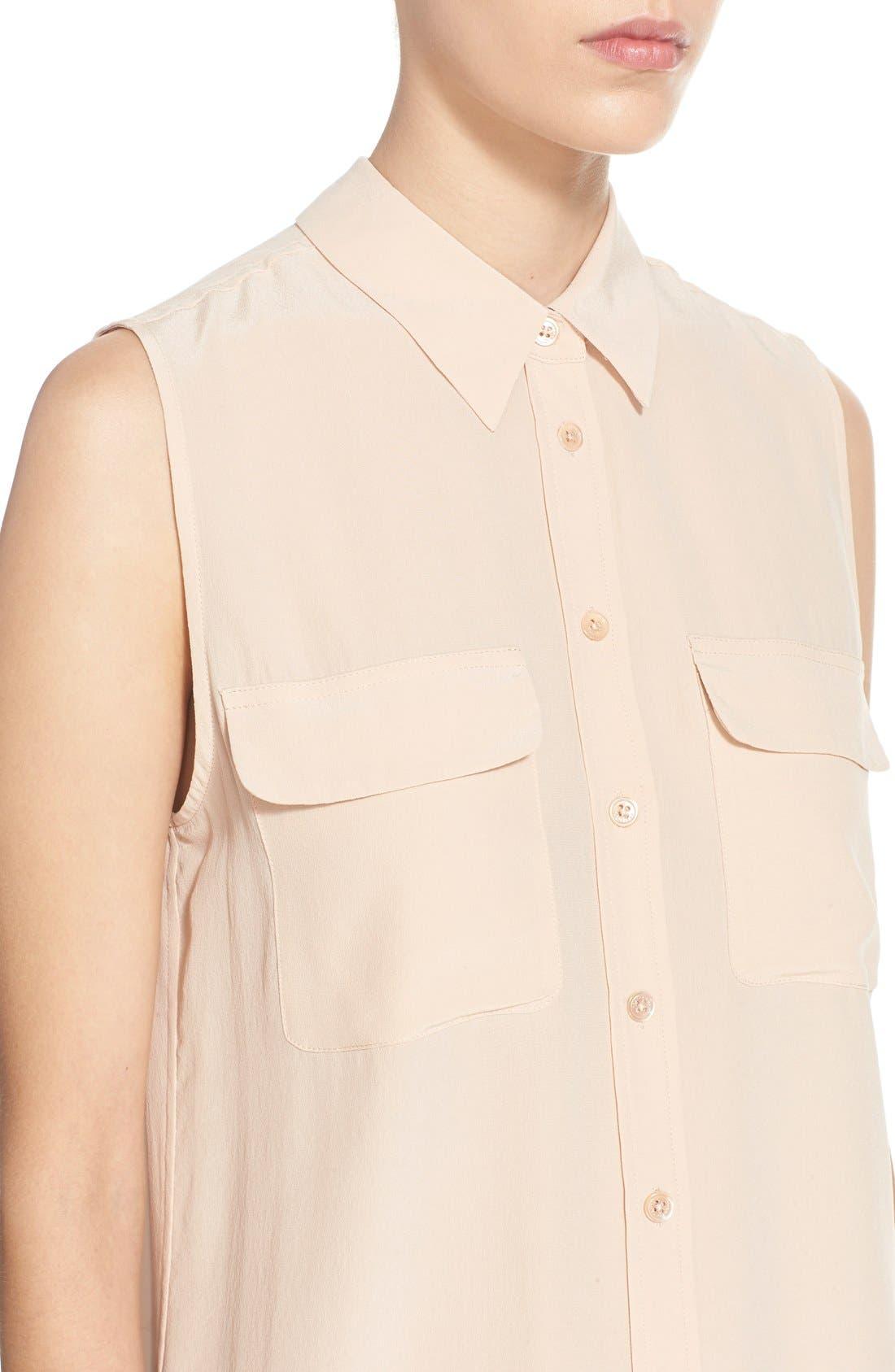 'Slim Signature' Sleeveless Silk Shirt,                             Alternate thumbnail 151, color,