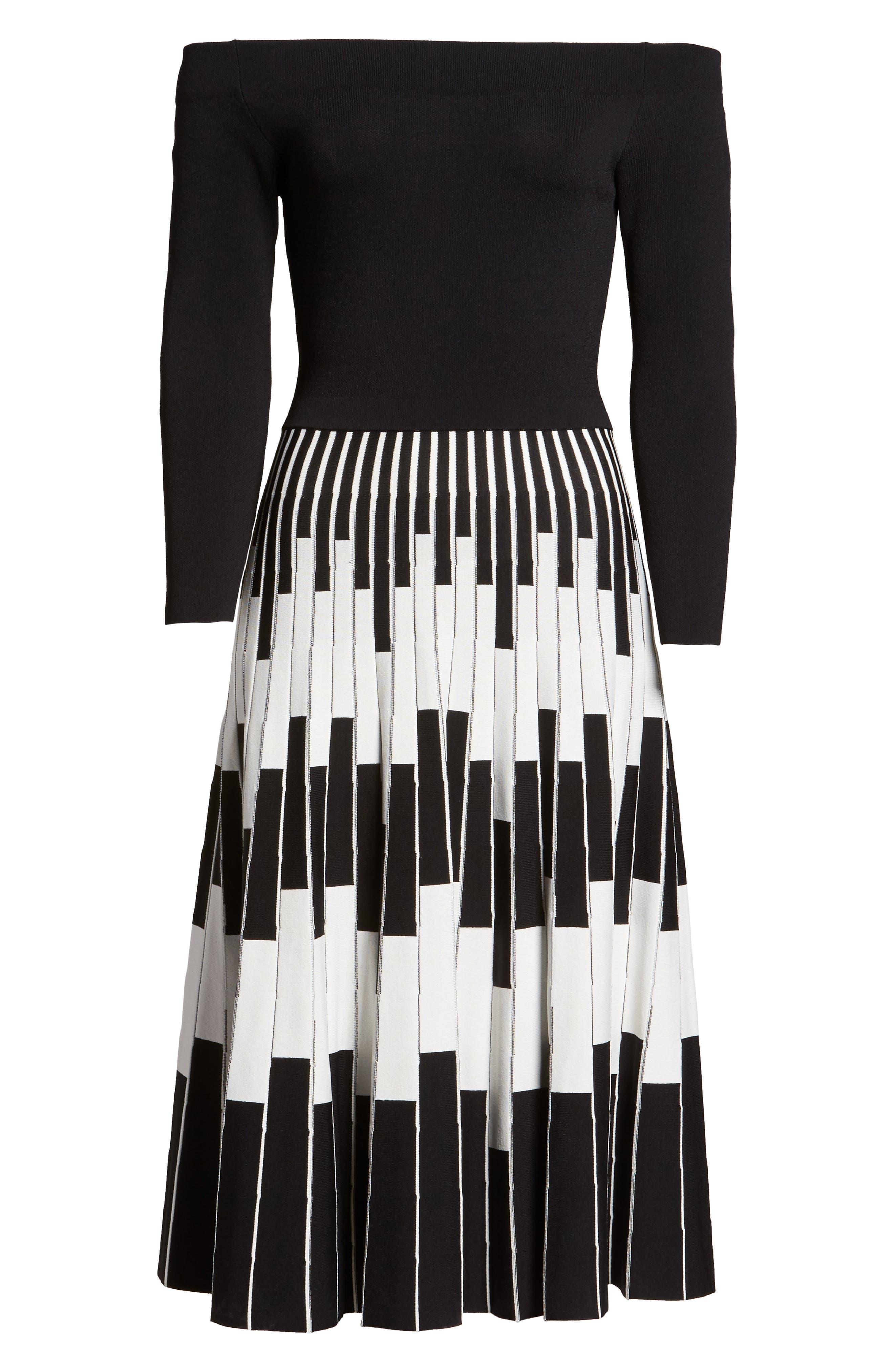 Off the Shoulder Midi Dress,                             Alternate thumbnail 6, color,                             BLACK/ IVORY