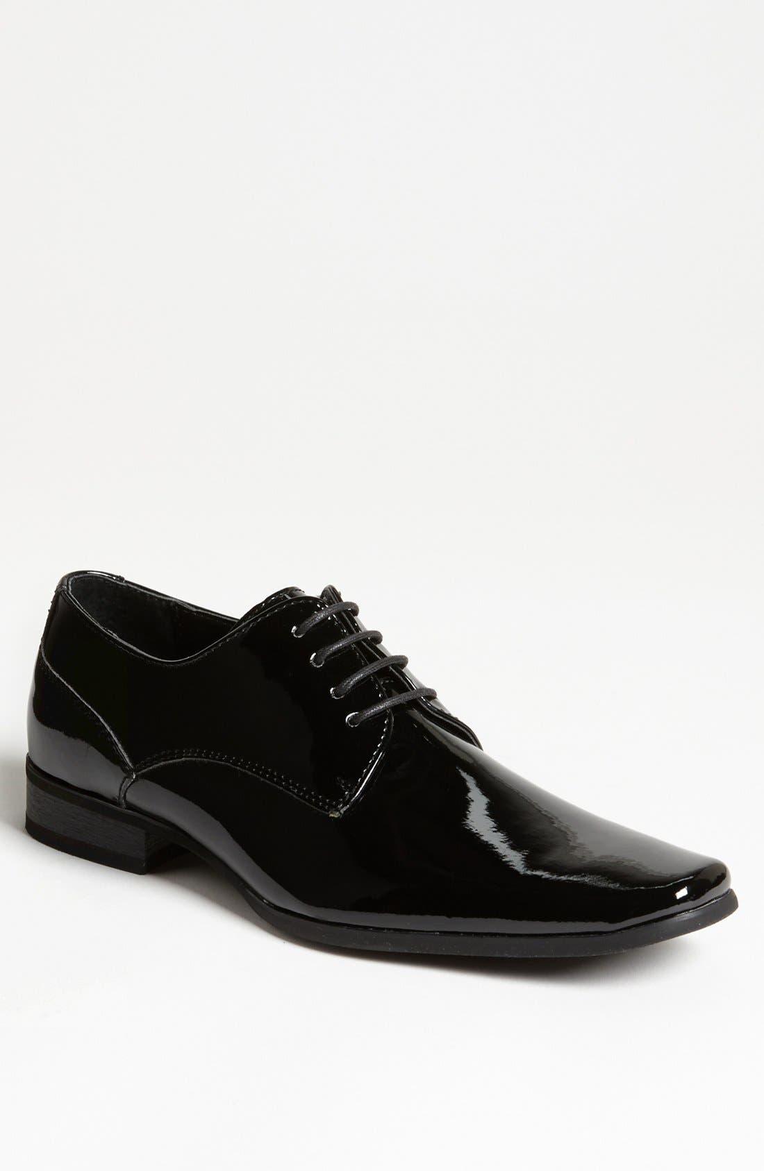 'Brodie' Plain Toe Derby,                             Main thumbnail 1, color,                             BLACK PATENT