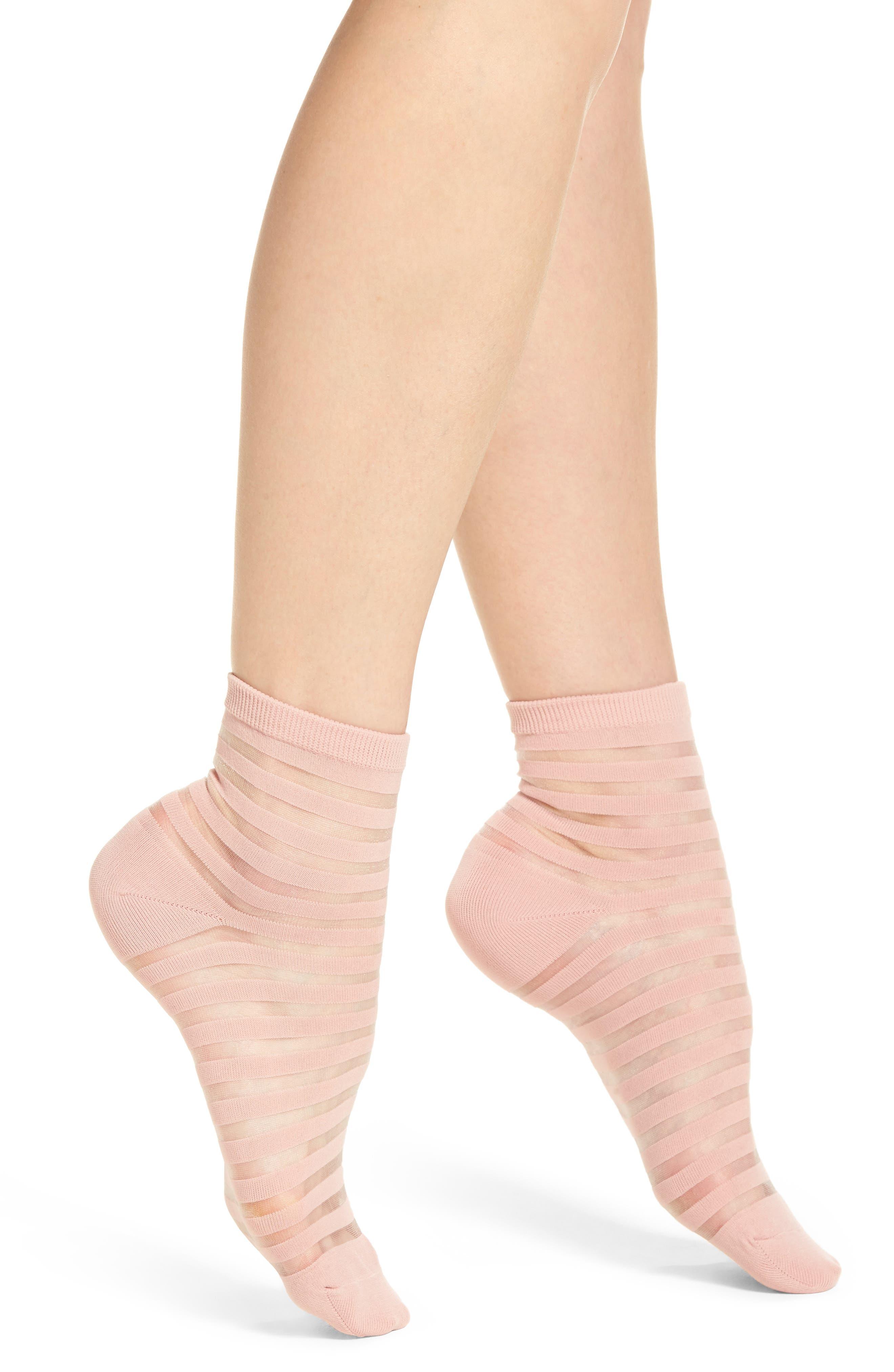 sheer stripe ankle socks,                         Main,                         color,